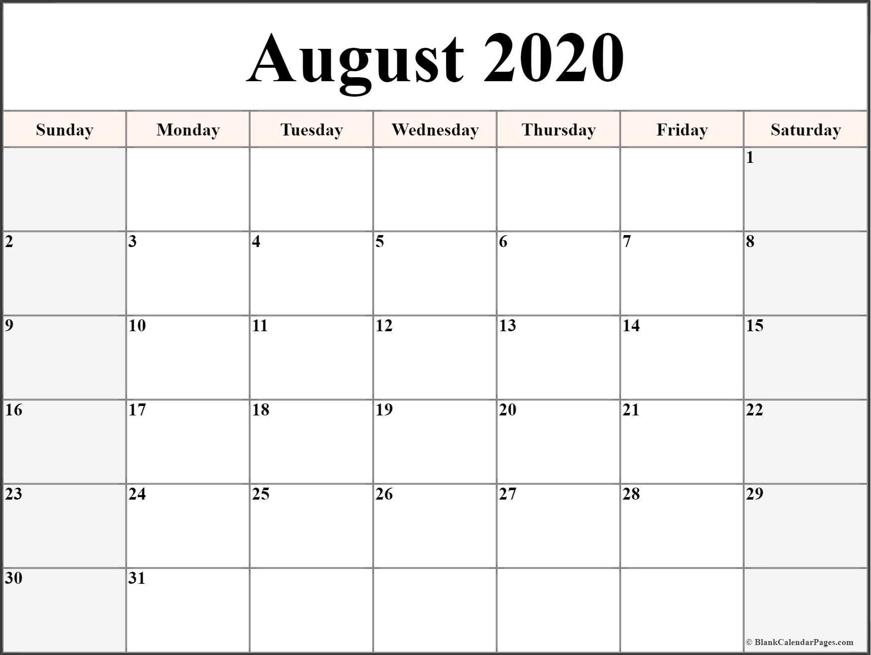 Pick Printable August 2021 Lined Calendar