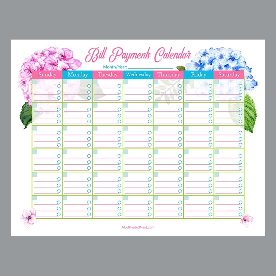 Pick Printable Bill Pay Calendar