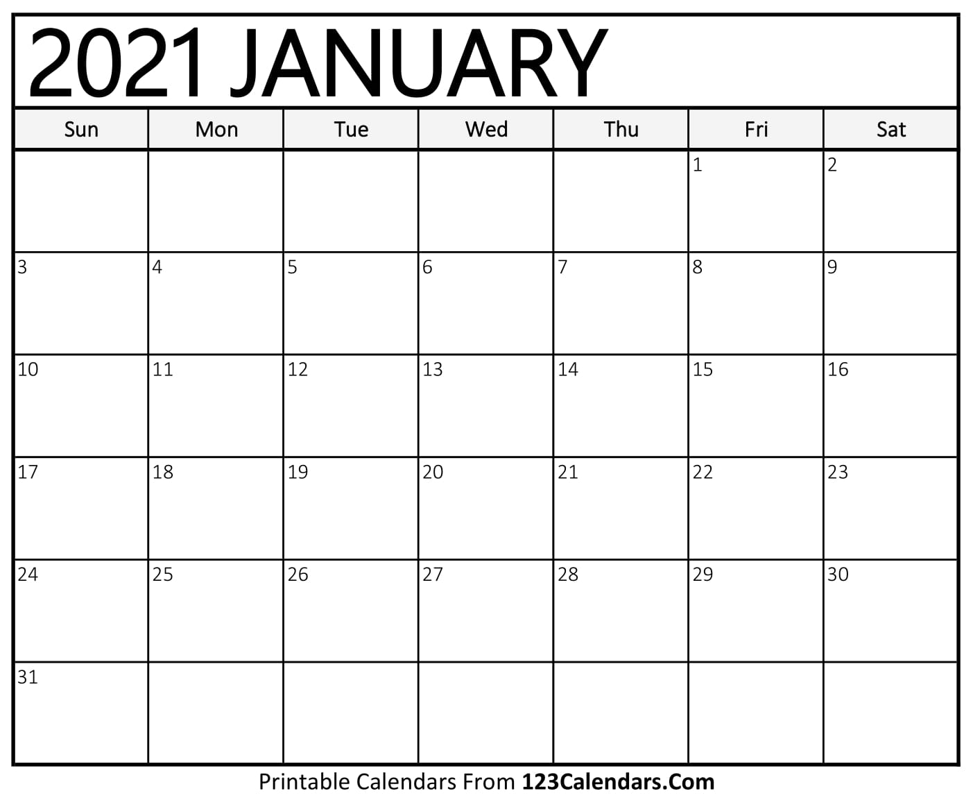 Pick Printable Blank Calendar 2021 Monthly No Download