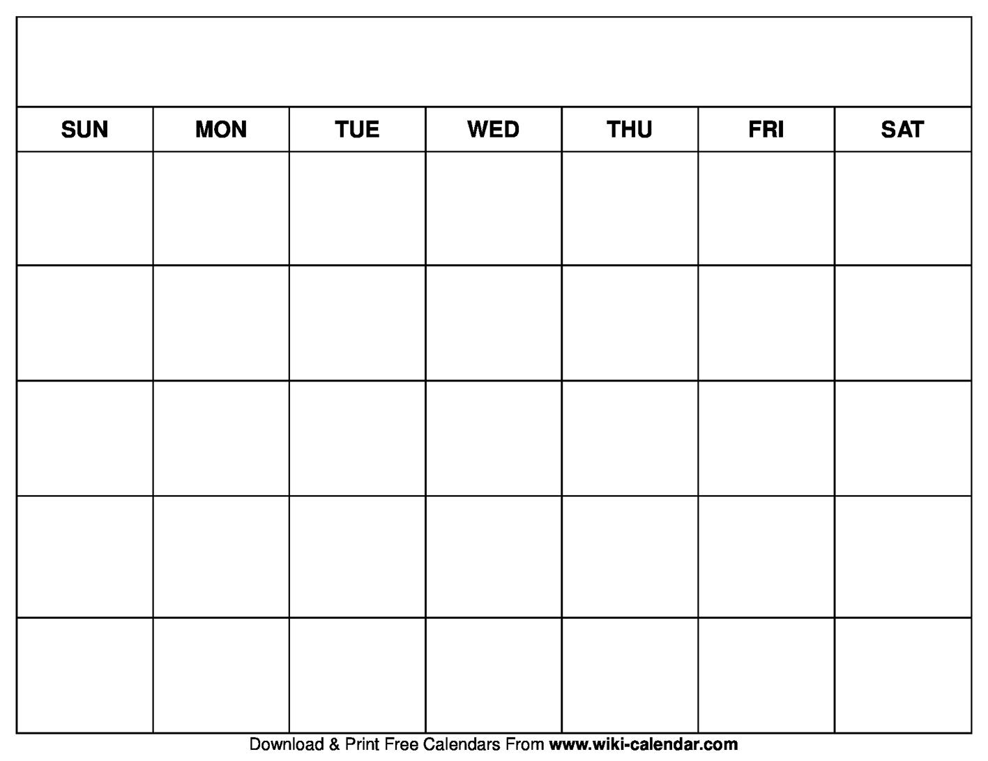Pick Printable Blank Calendar Template