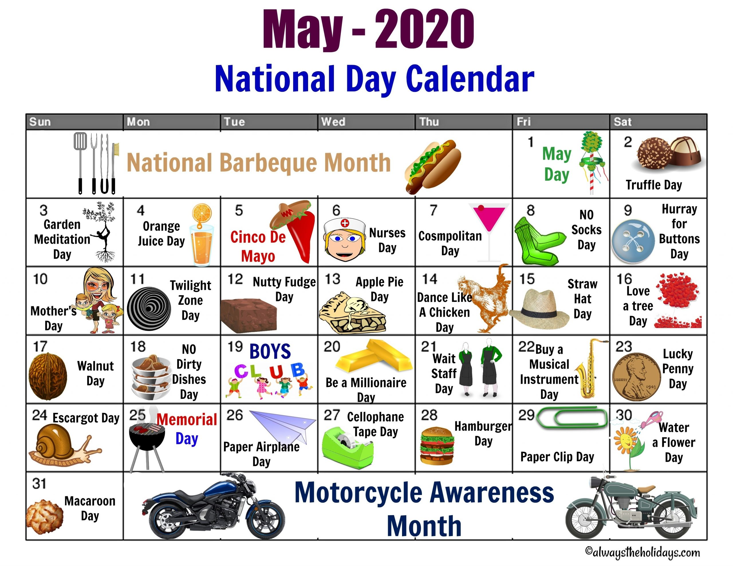 Pick Printable Calendar 2021 National Days List