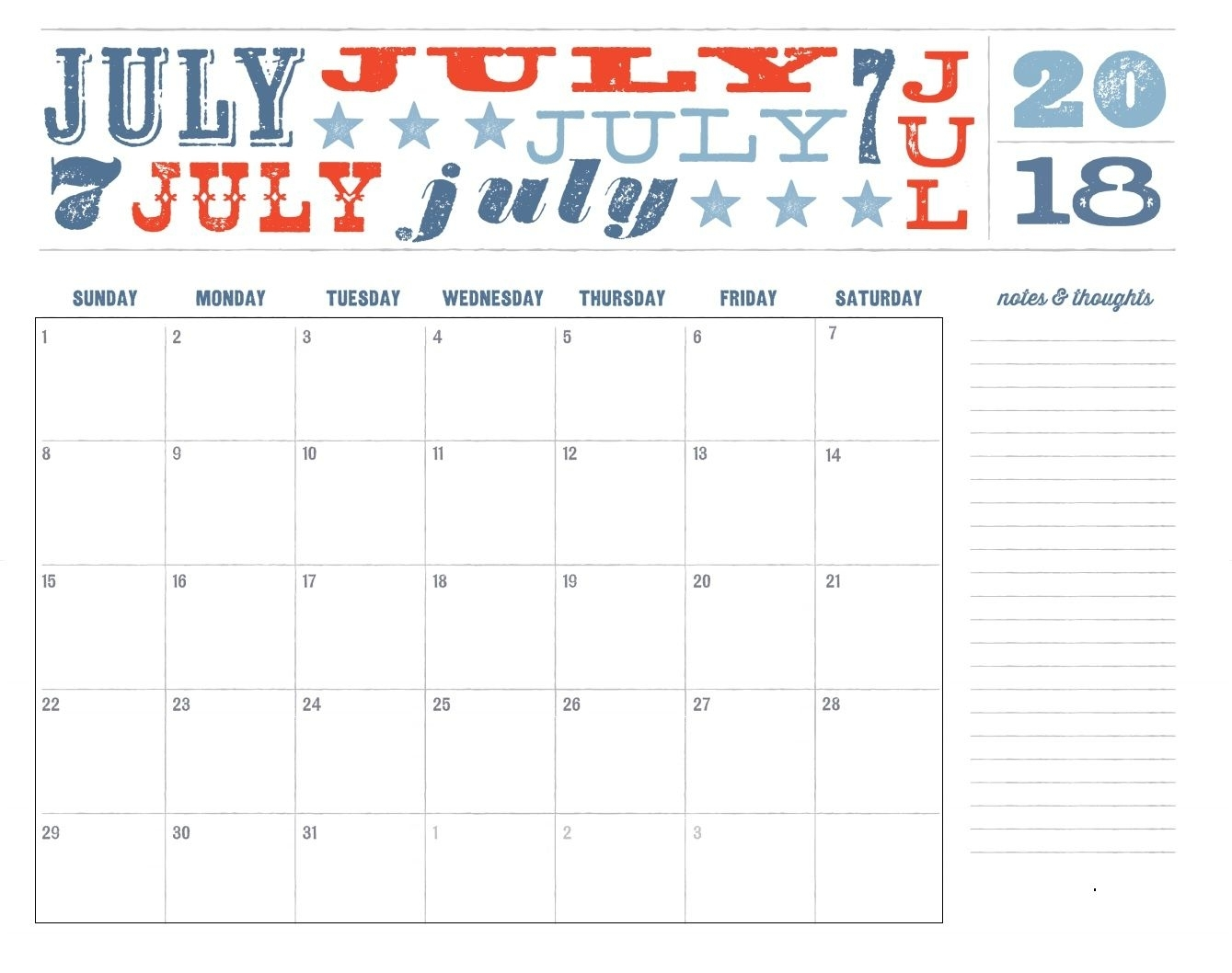 Pick Printable Calendars Fourth Of July Theme