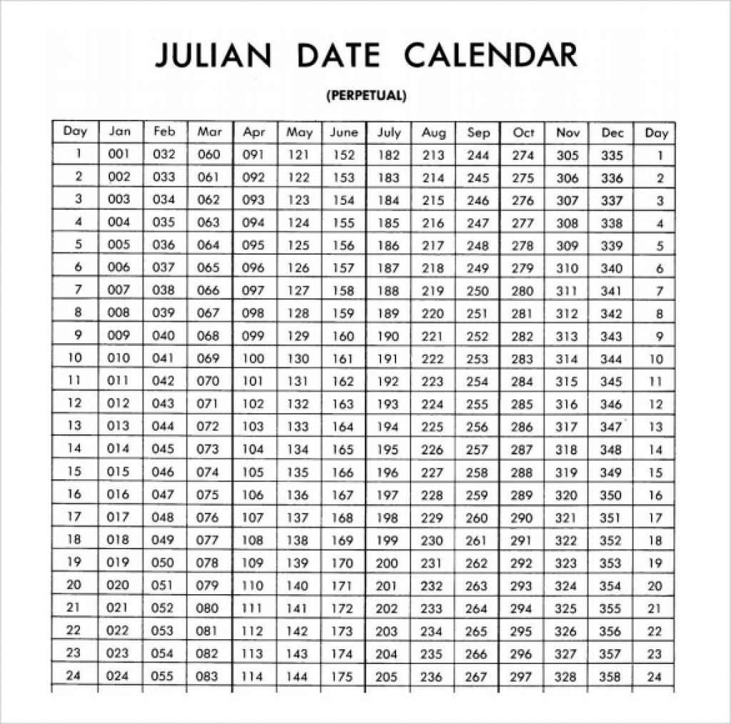 Pick Printable Julian Calendar