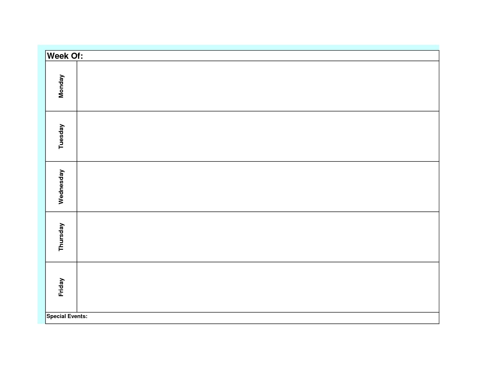 Pick Printable Monday Through Friday Schedule