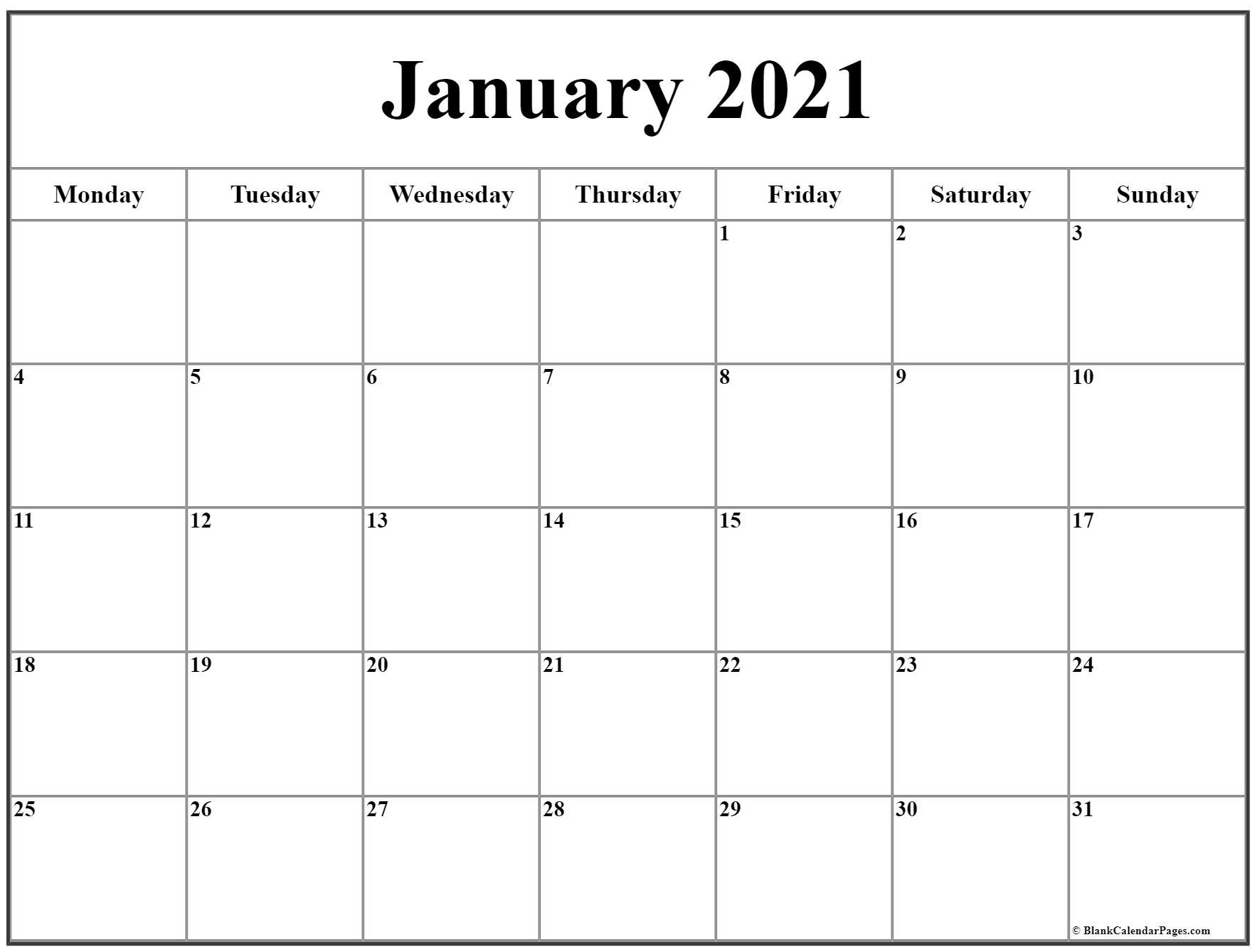 Pick Printable Monday Through Sunday Calendar 2021