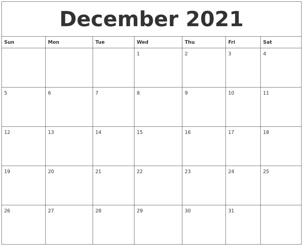 Pick Printable Monthly Calendar December 2021