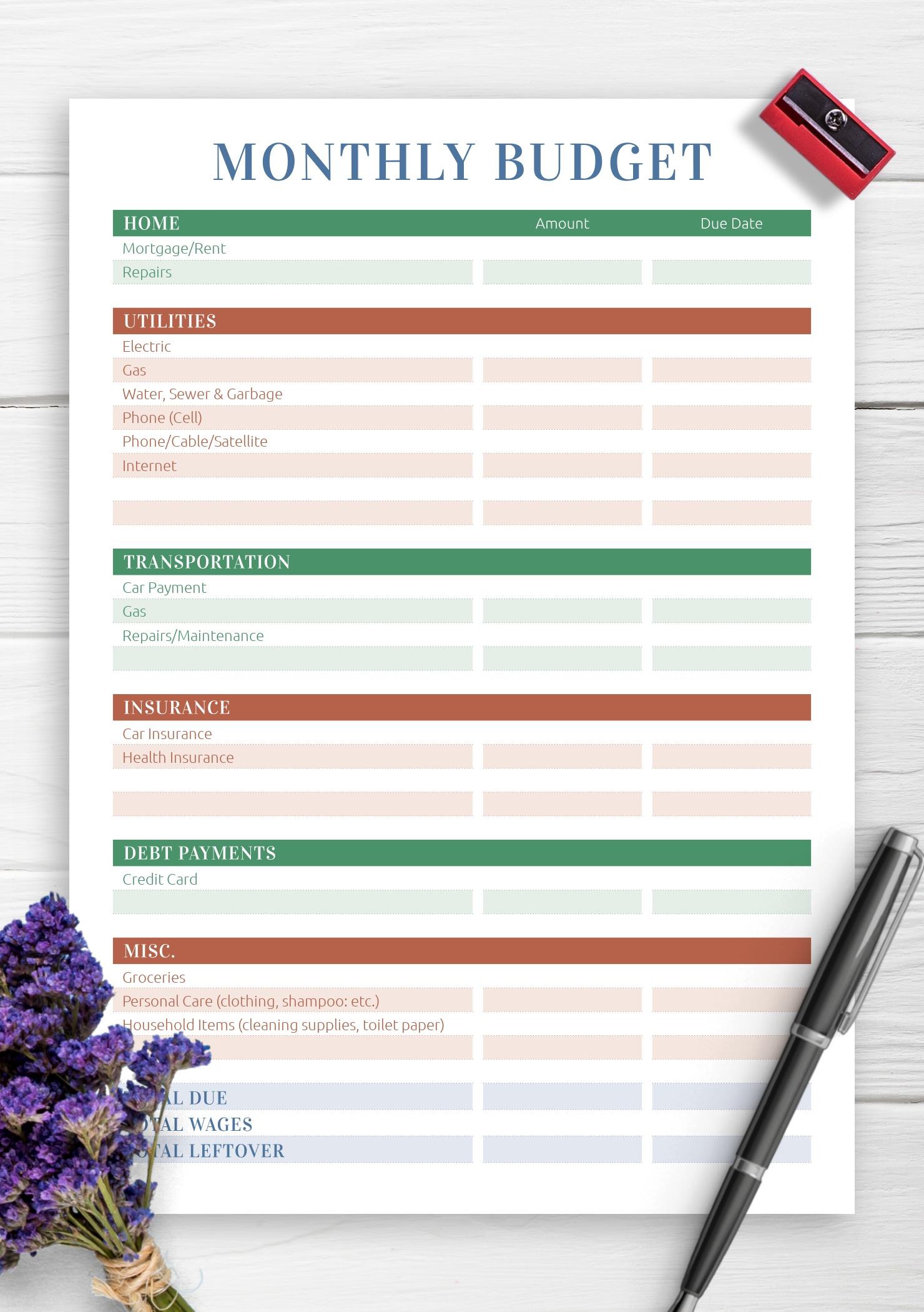Pick Printable Monthly Home Bills List