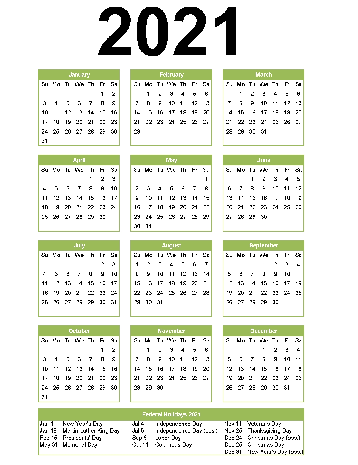 Pick Printable National Calendar 2021