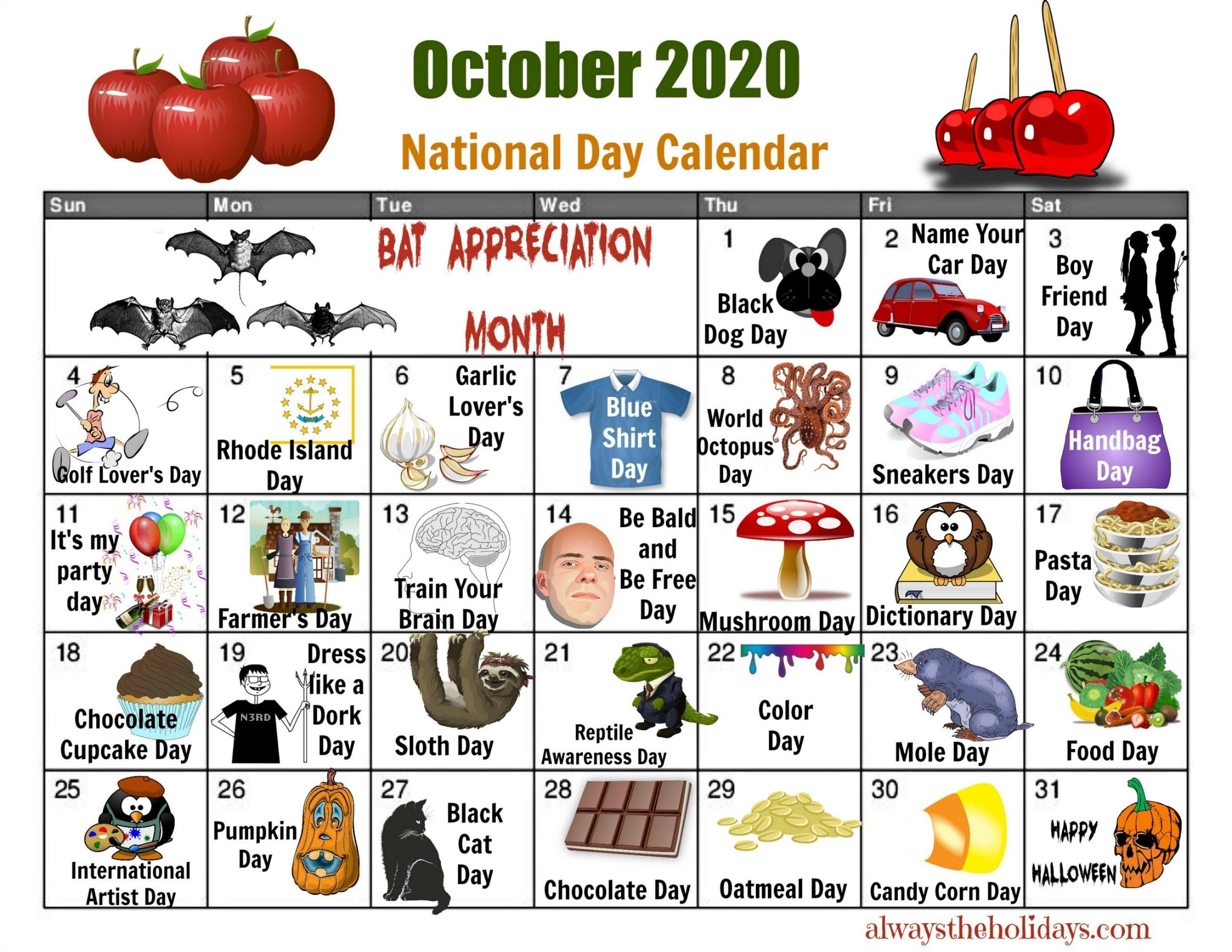Pick Printable National Day Calendar 2021