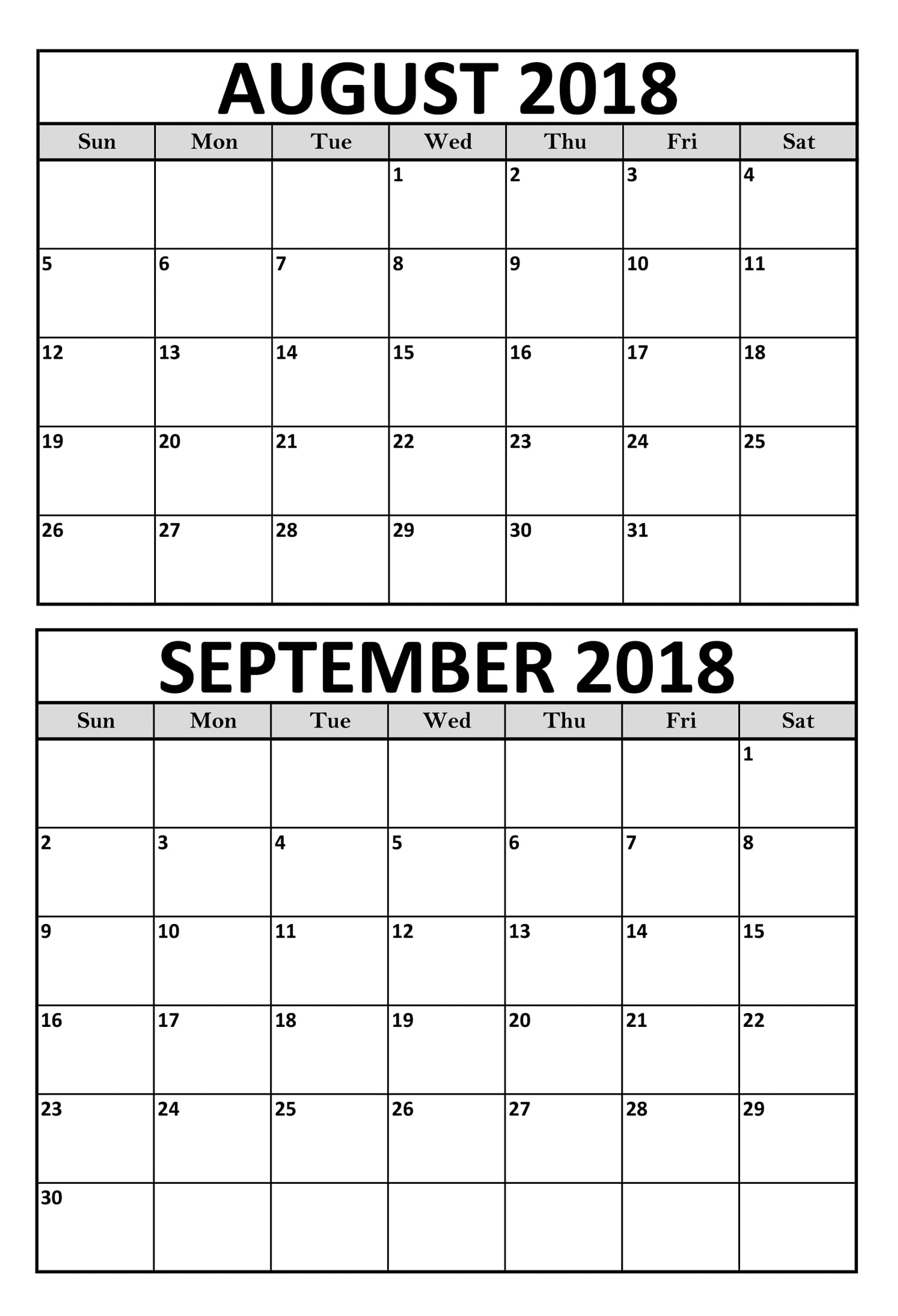 Pick Printable September Calendar With Last Week Of August