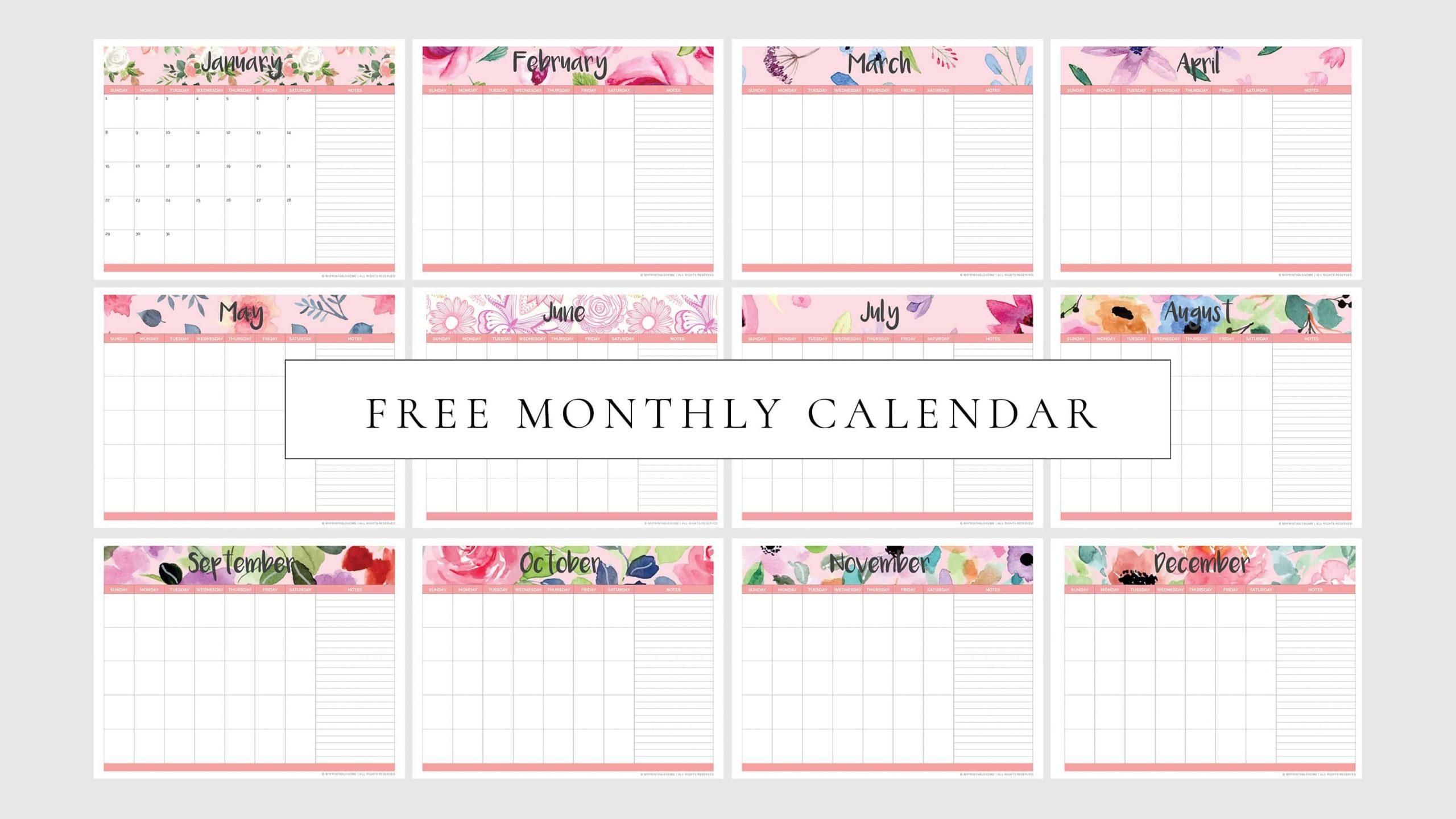 Pick Printable Undated Month