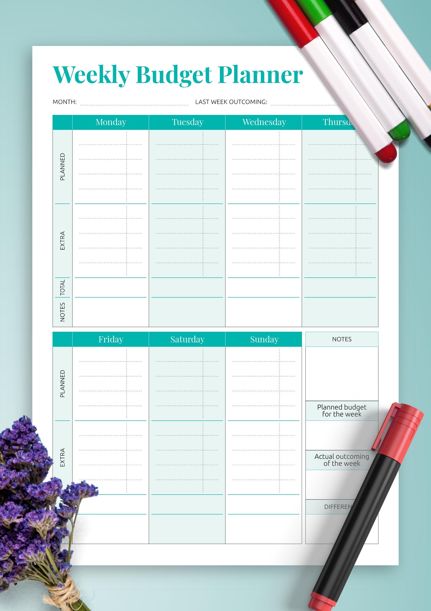 Pick Printable Weekly Bill Planner