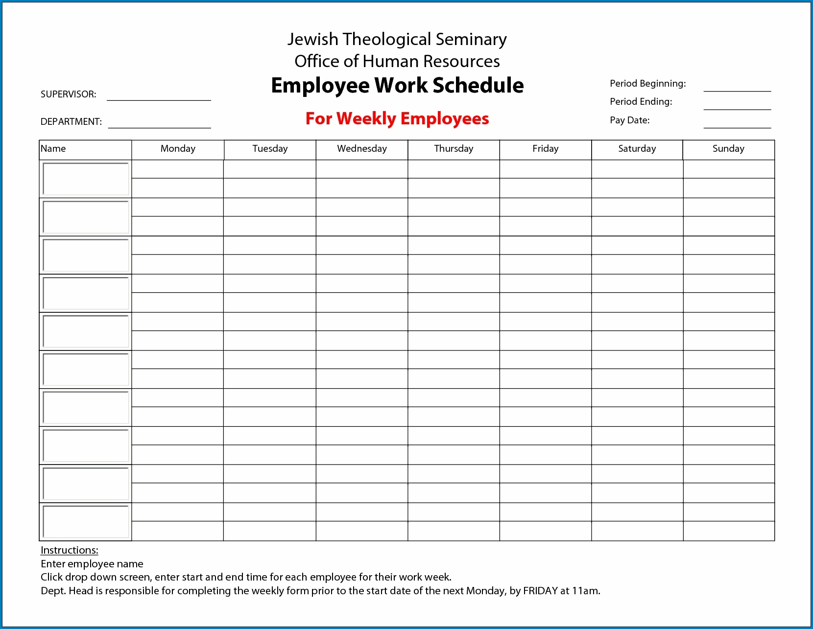 Pick Printable Weekly Work Schedule Templates That Start With Monday