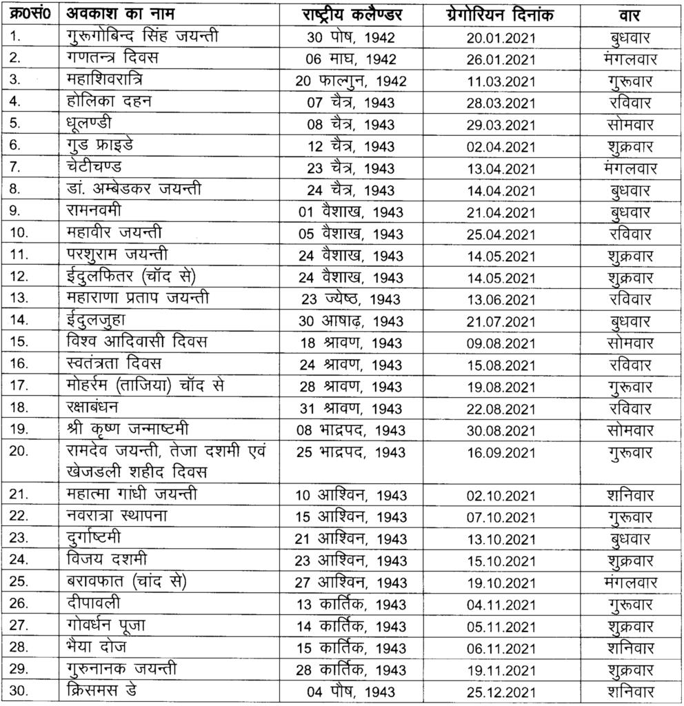 Pick Rajasthan Govt Calendar 2021 With Holidays