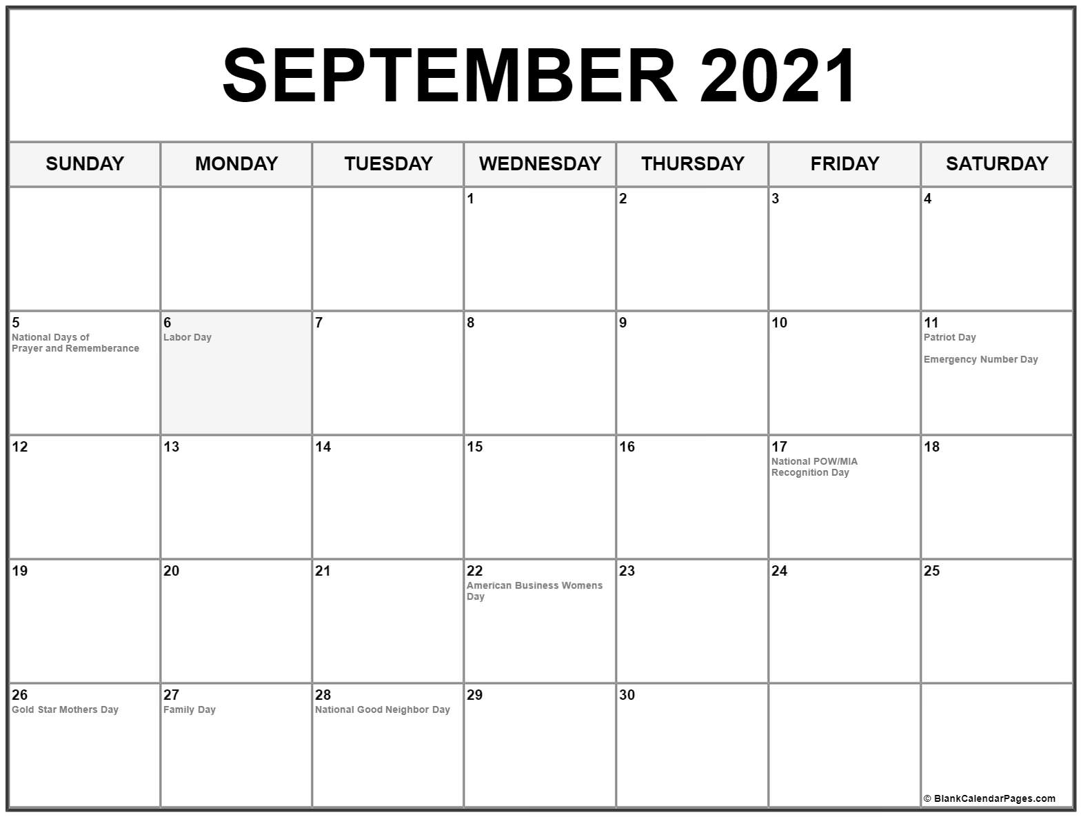 Pick September Calendar 2021 With Holiday