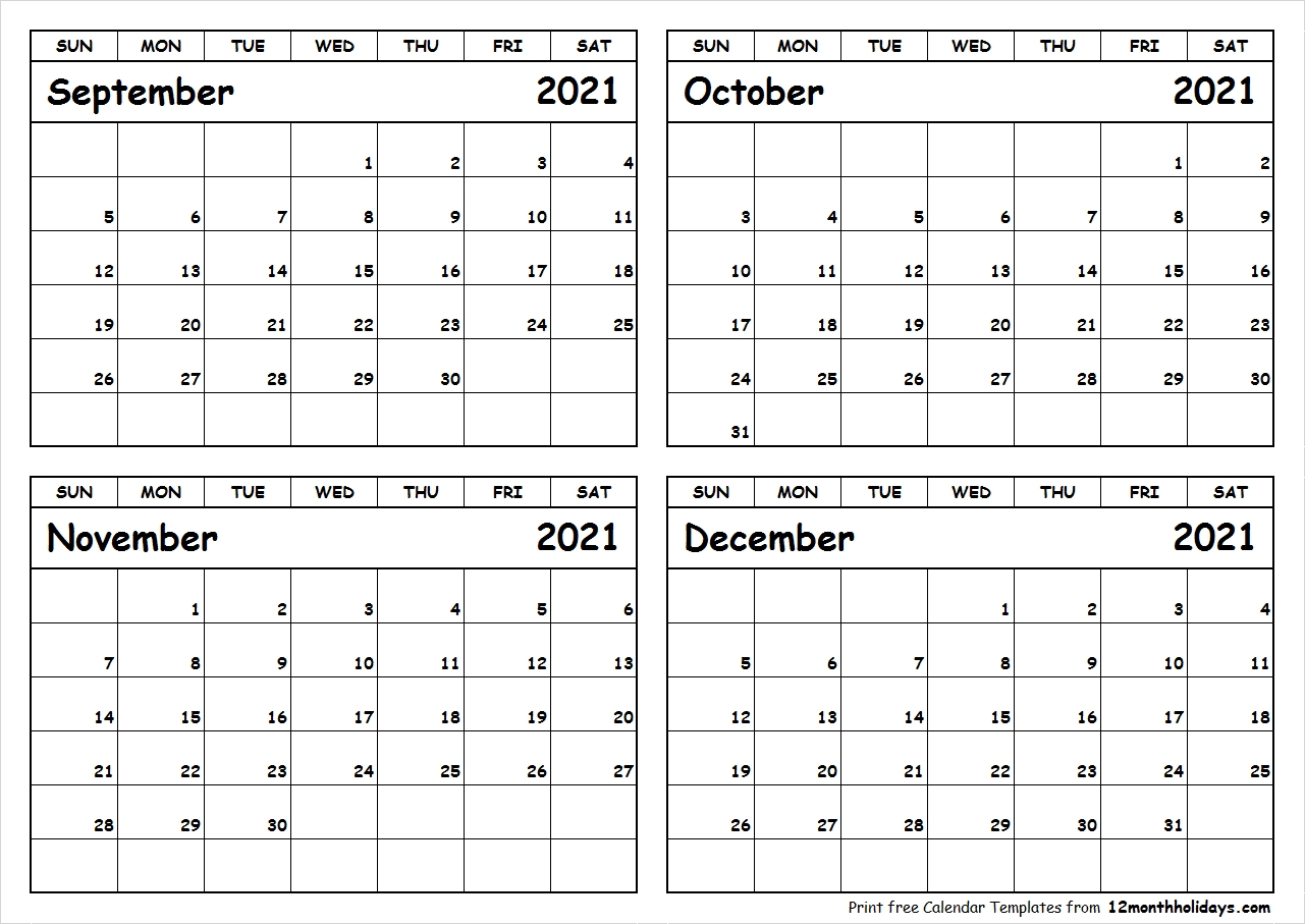 Pick September October November December 2021 Fill Out Calendar