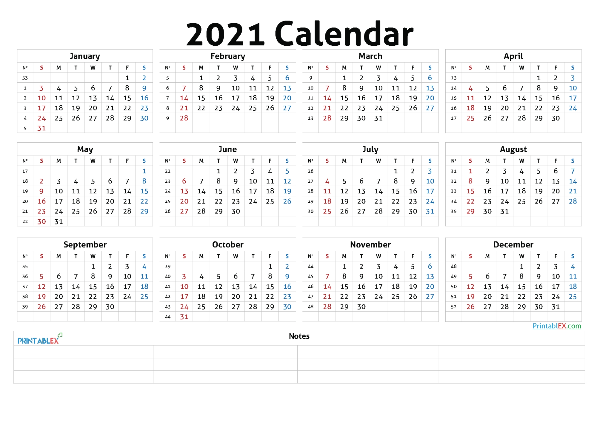 Pick Small Printable 2021 Yearly Calendar