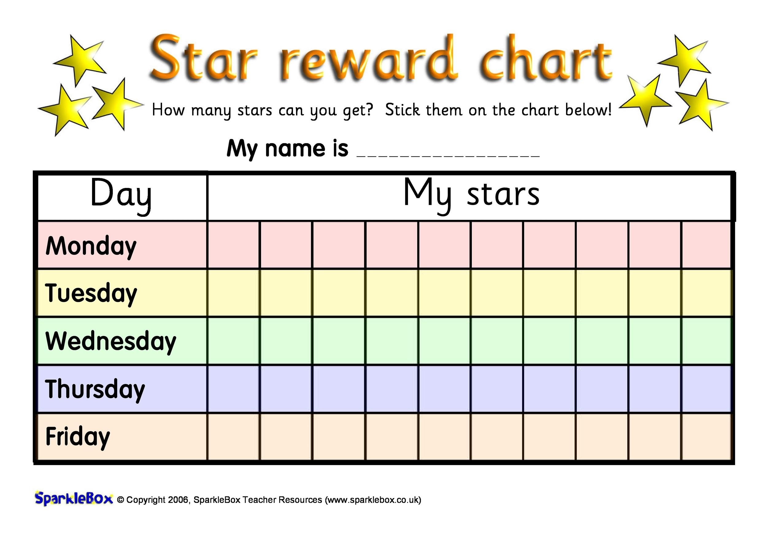 Pick Star Charts To Print For Free Monday To Friday