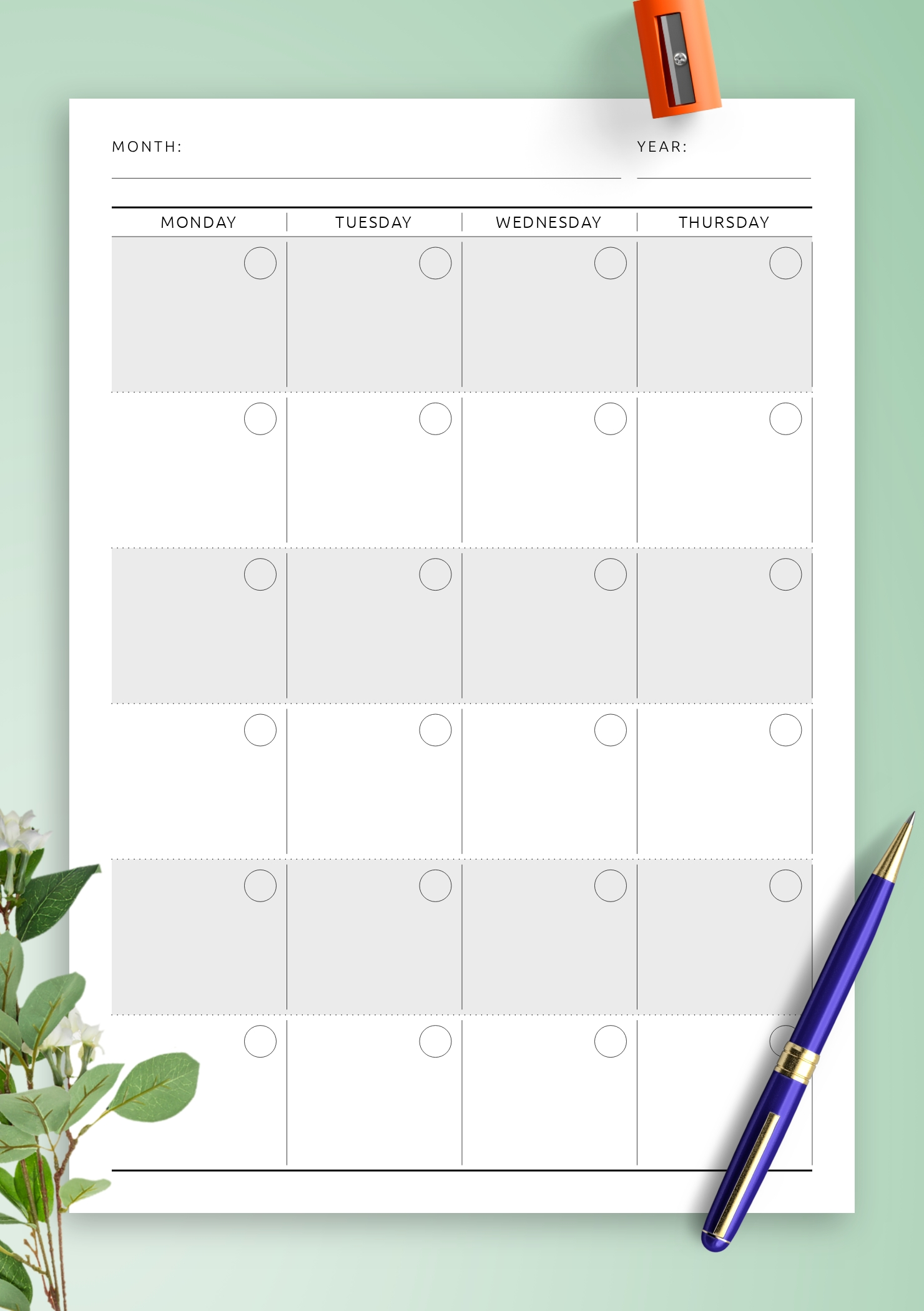 Pick Undated Printable Calendar