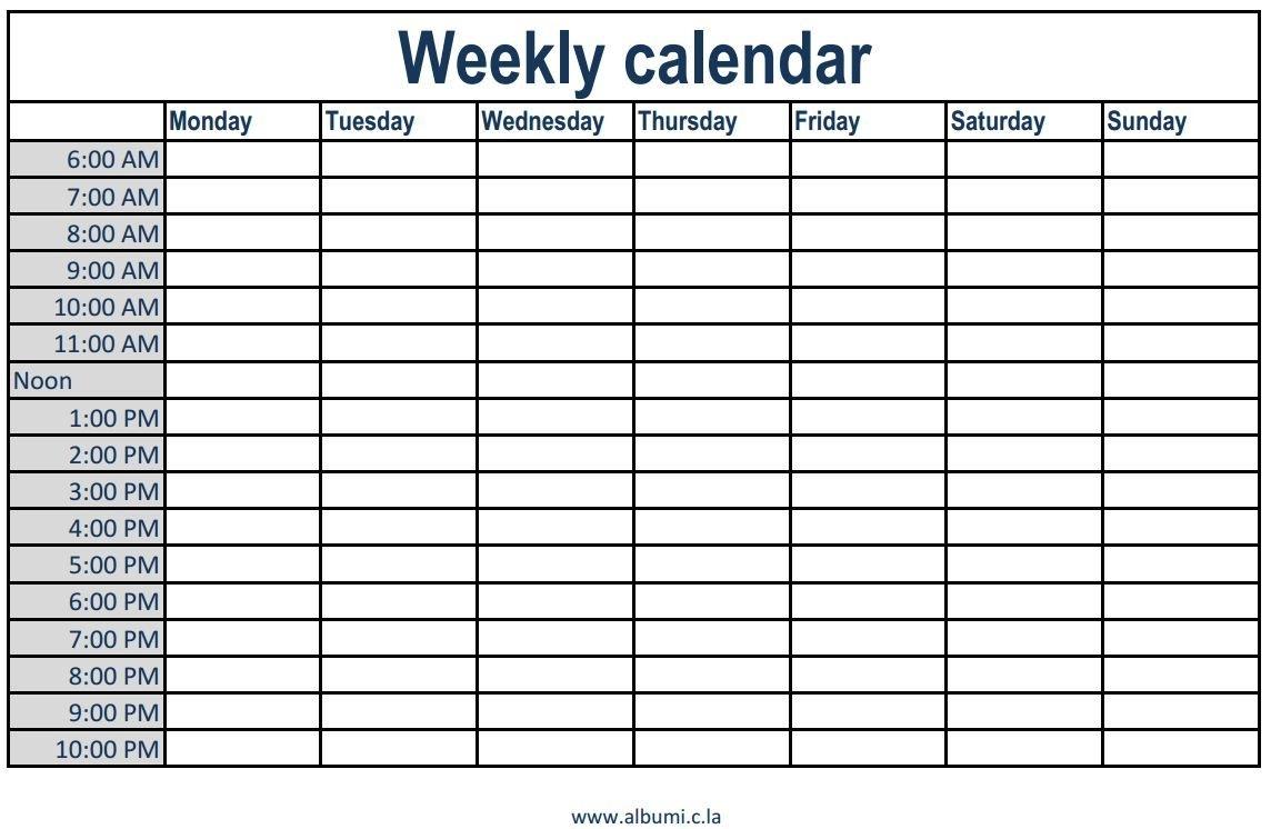 Pick Week Calendar Printable Am Pm