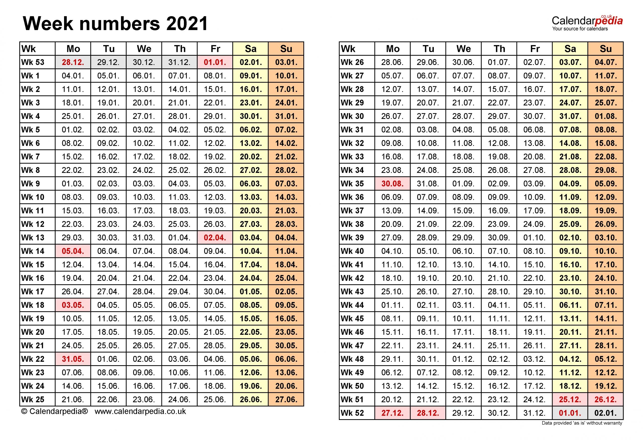 Pick Week Number 2021 Excel