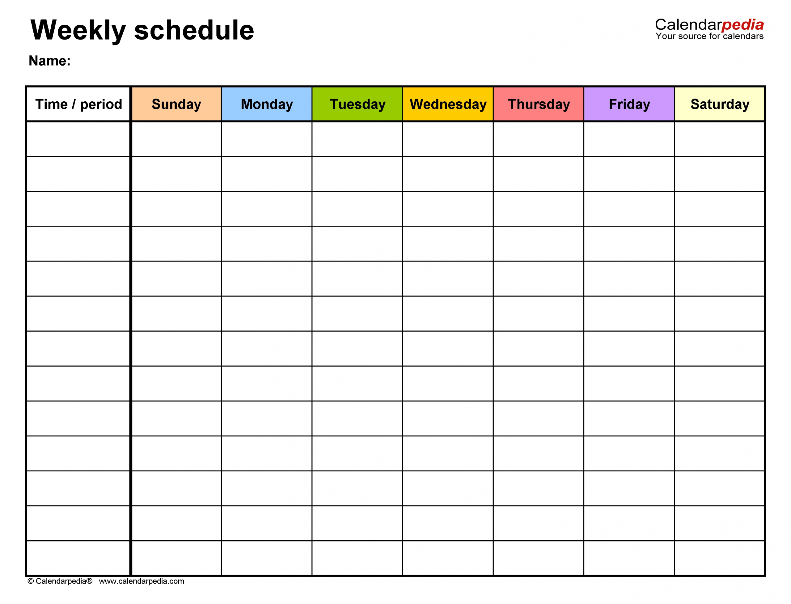 Pick Weekly Calendar Template Printable