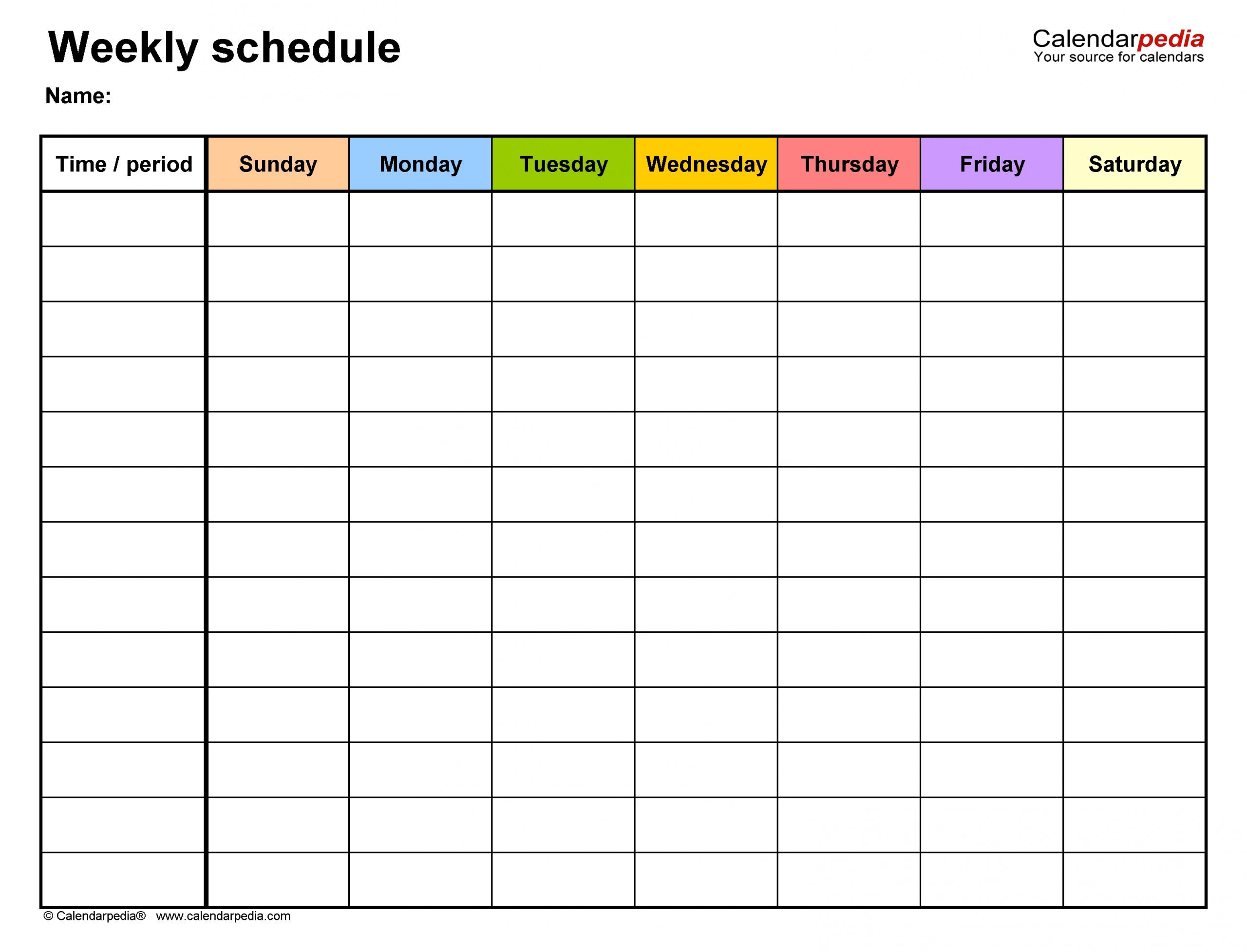Pick Weekly Schedule Template Editable
