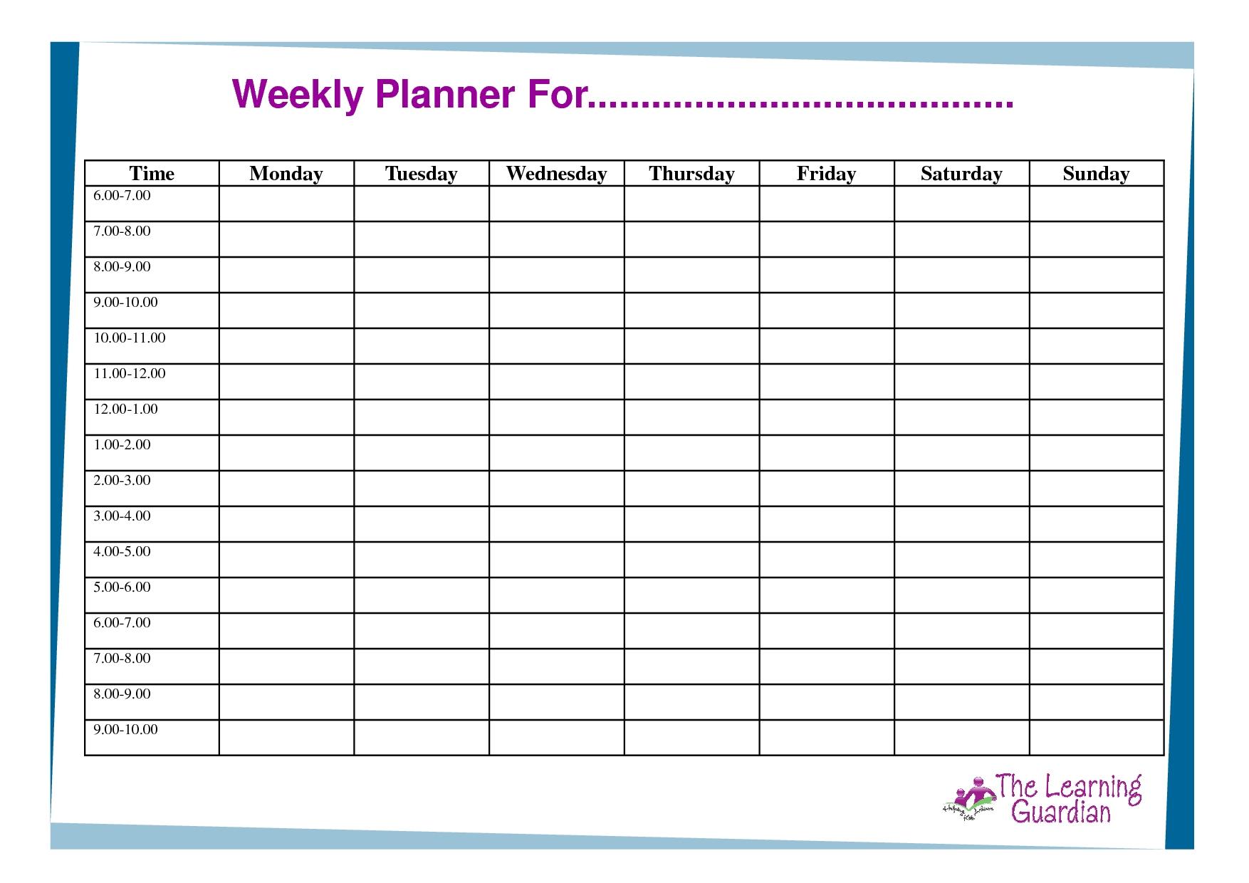 Pick Weekly Timetable Mon To Fri