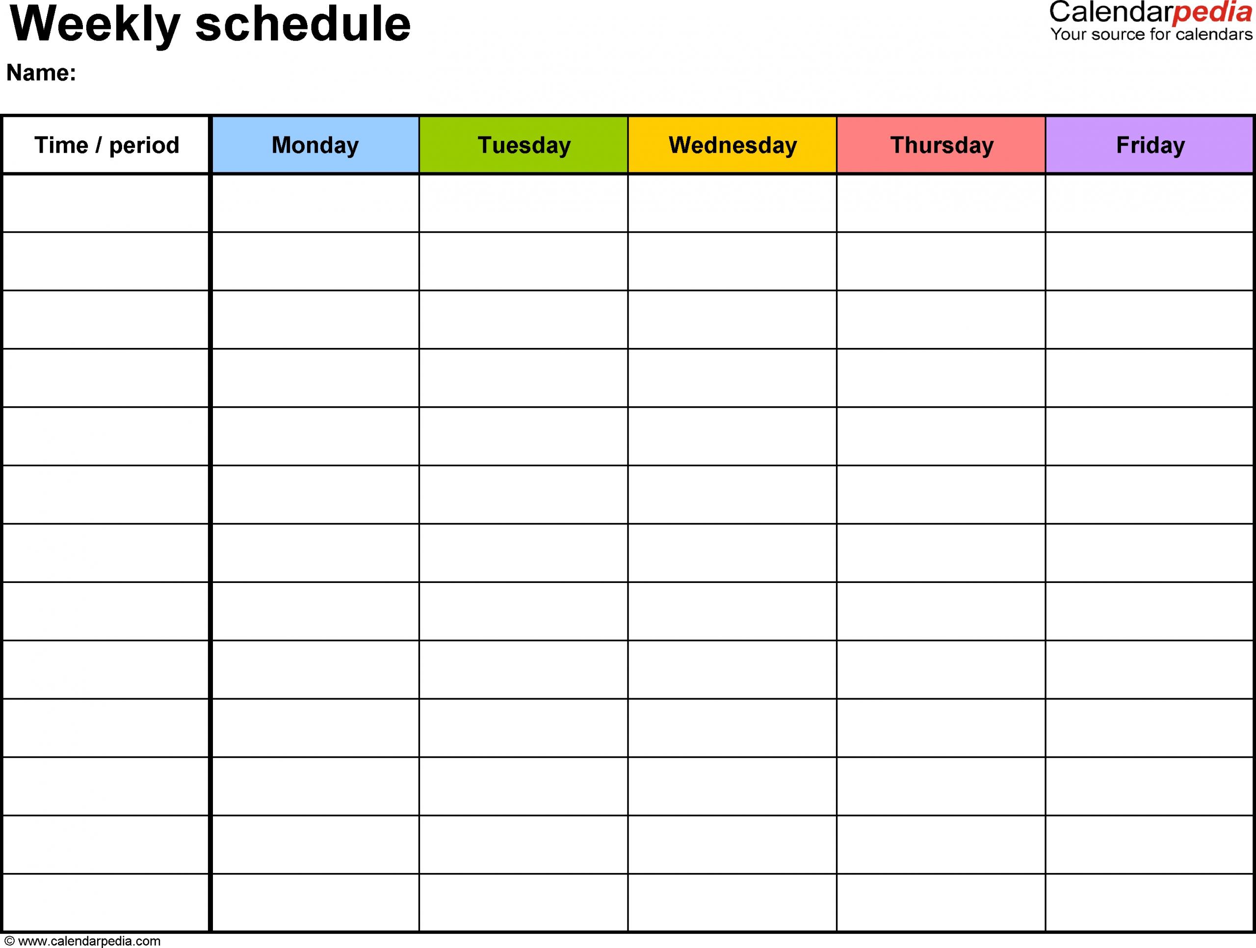 Pick Work Week Printable Calader Template Blank
