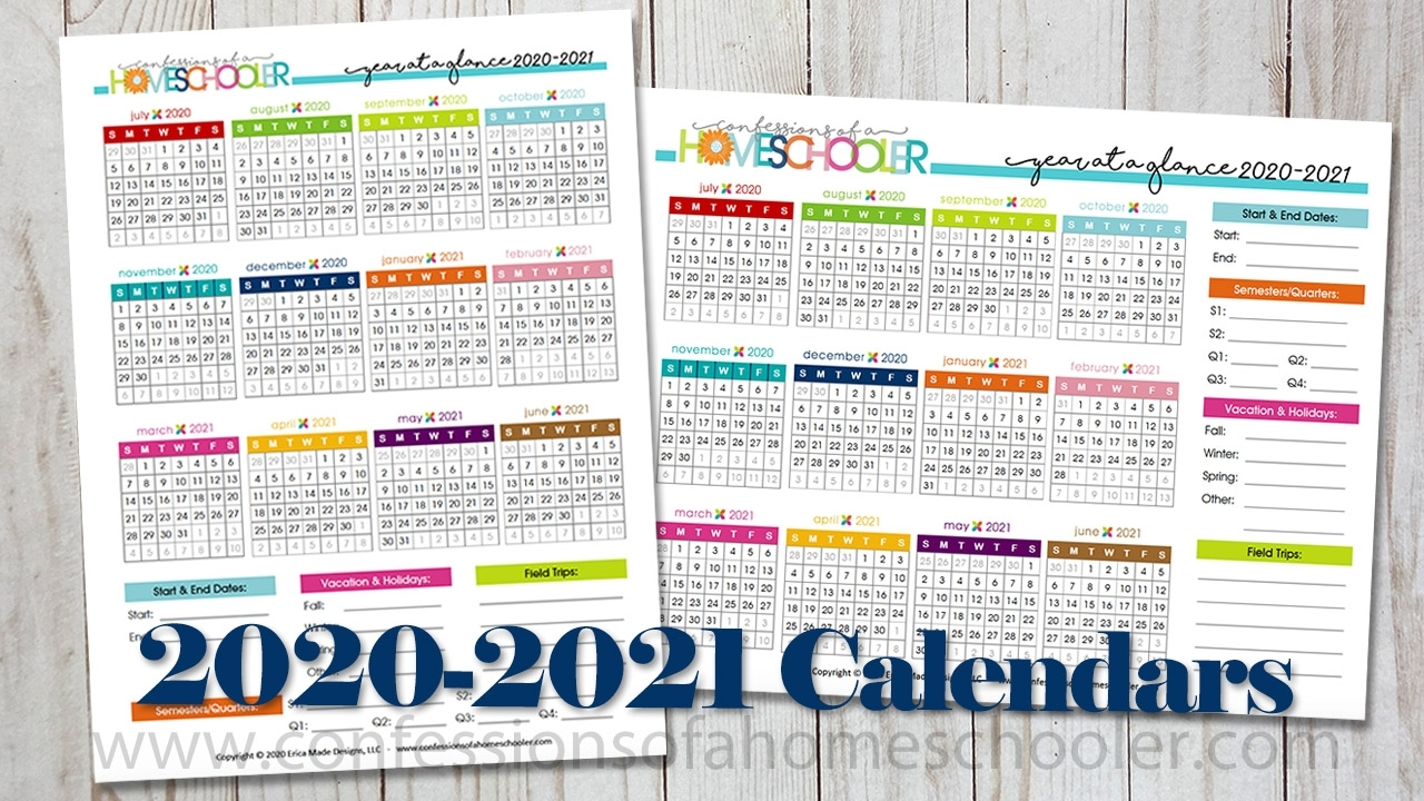 Pick Year At A Glance Calendar 2021 Free Printable