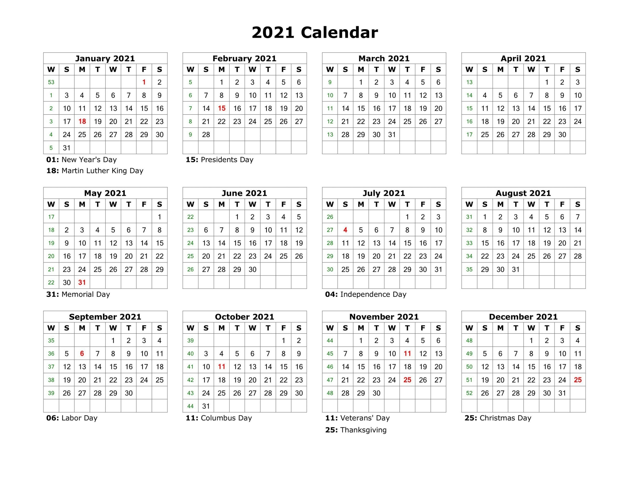 Pick Year At A Glance Calendar 2021 Free Printable