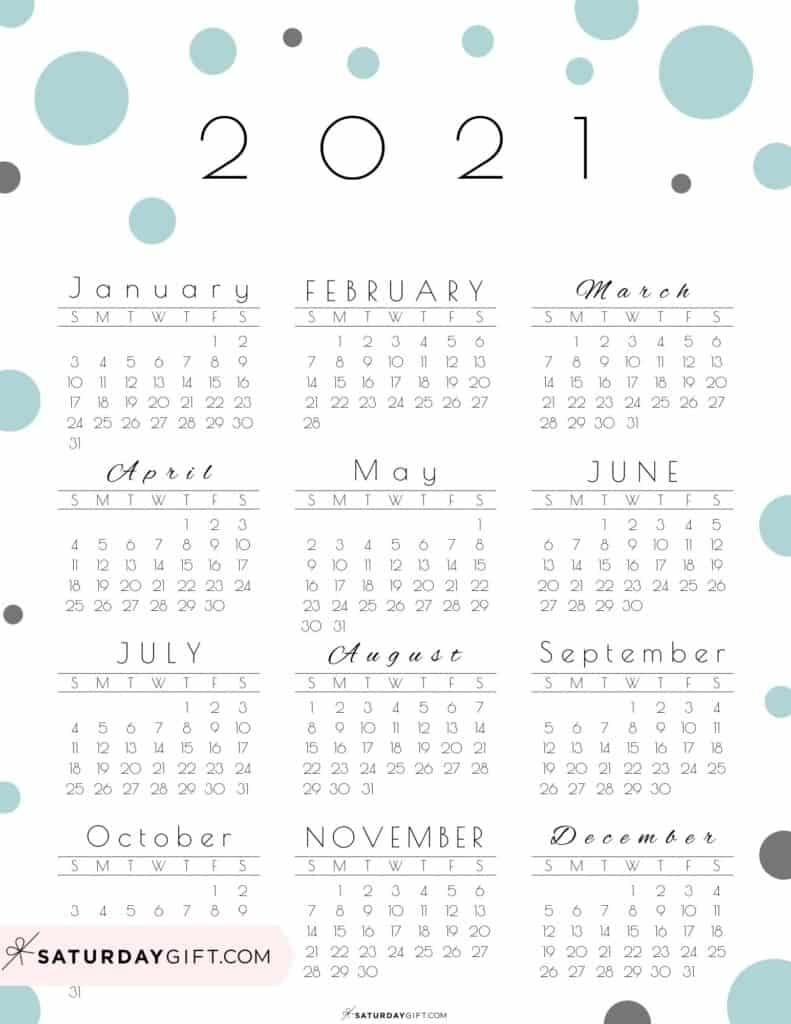 Pick Year At A Glance Calendar 2021 Printable