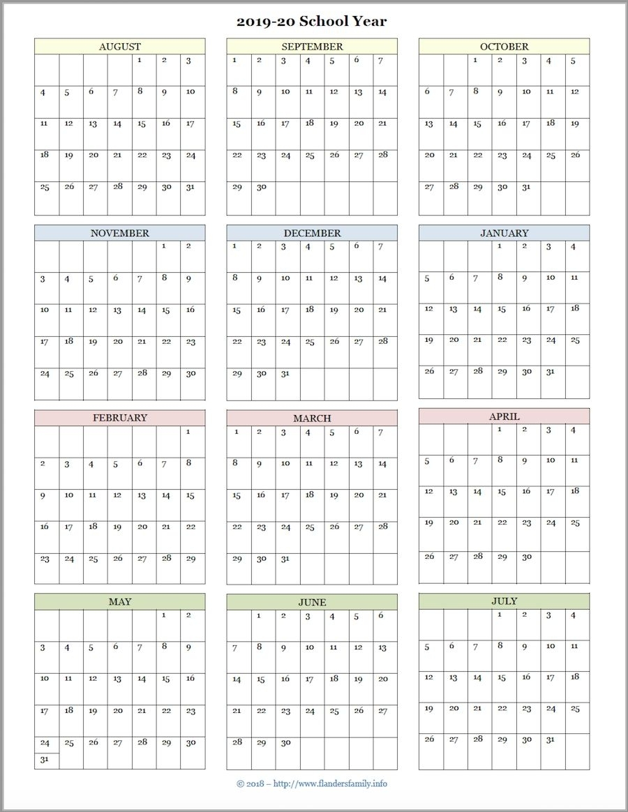 Pick Year At A Glance School Calendar Printable