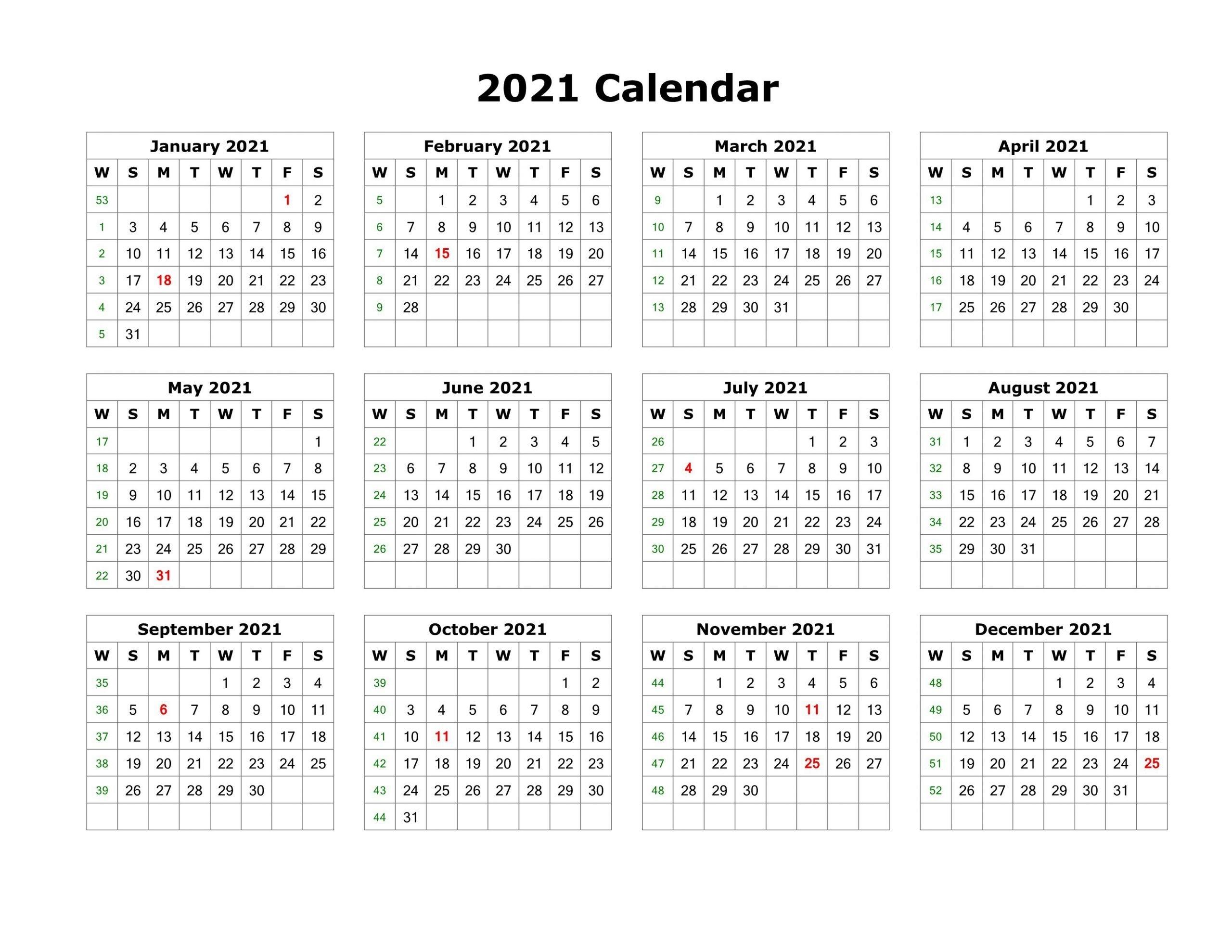 Take 12 Month Calendar Template2021