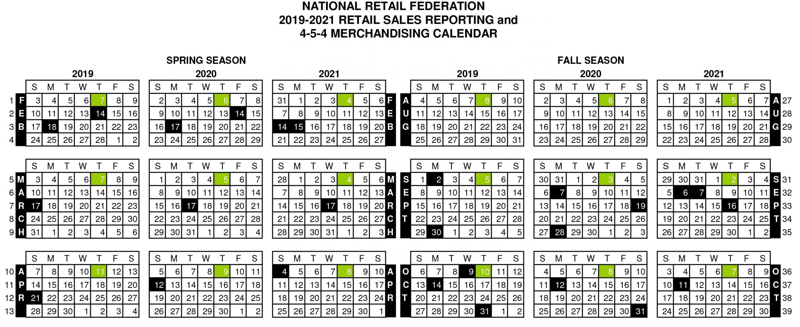 Take 2021 454 Retail Calendar