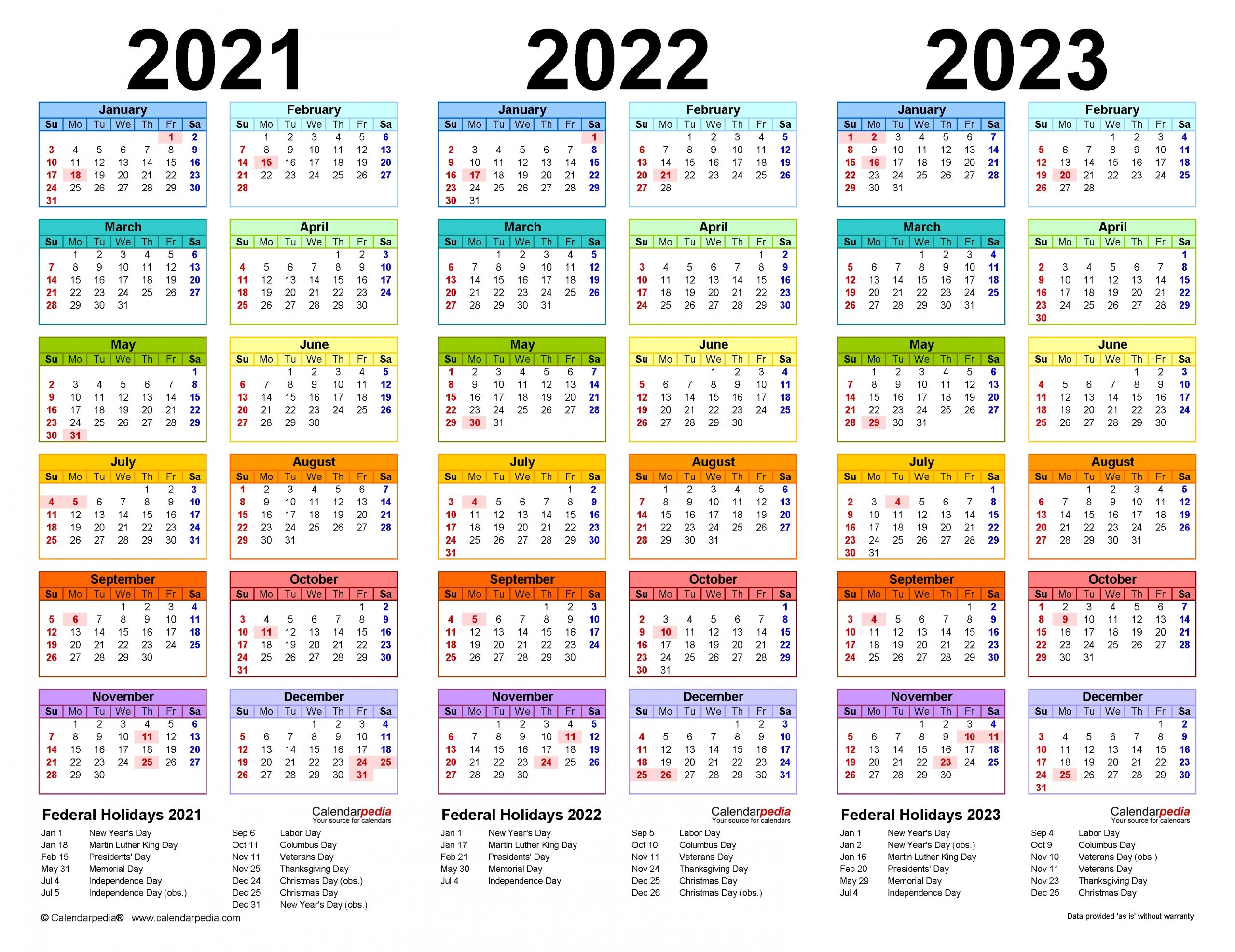 Take 2021 And 2022 And 2023 Calendar Printable