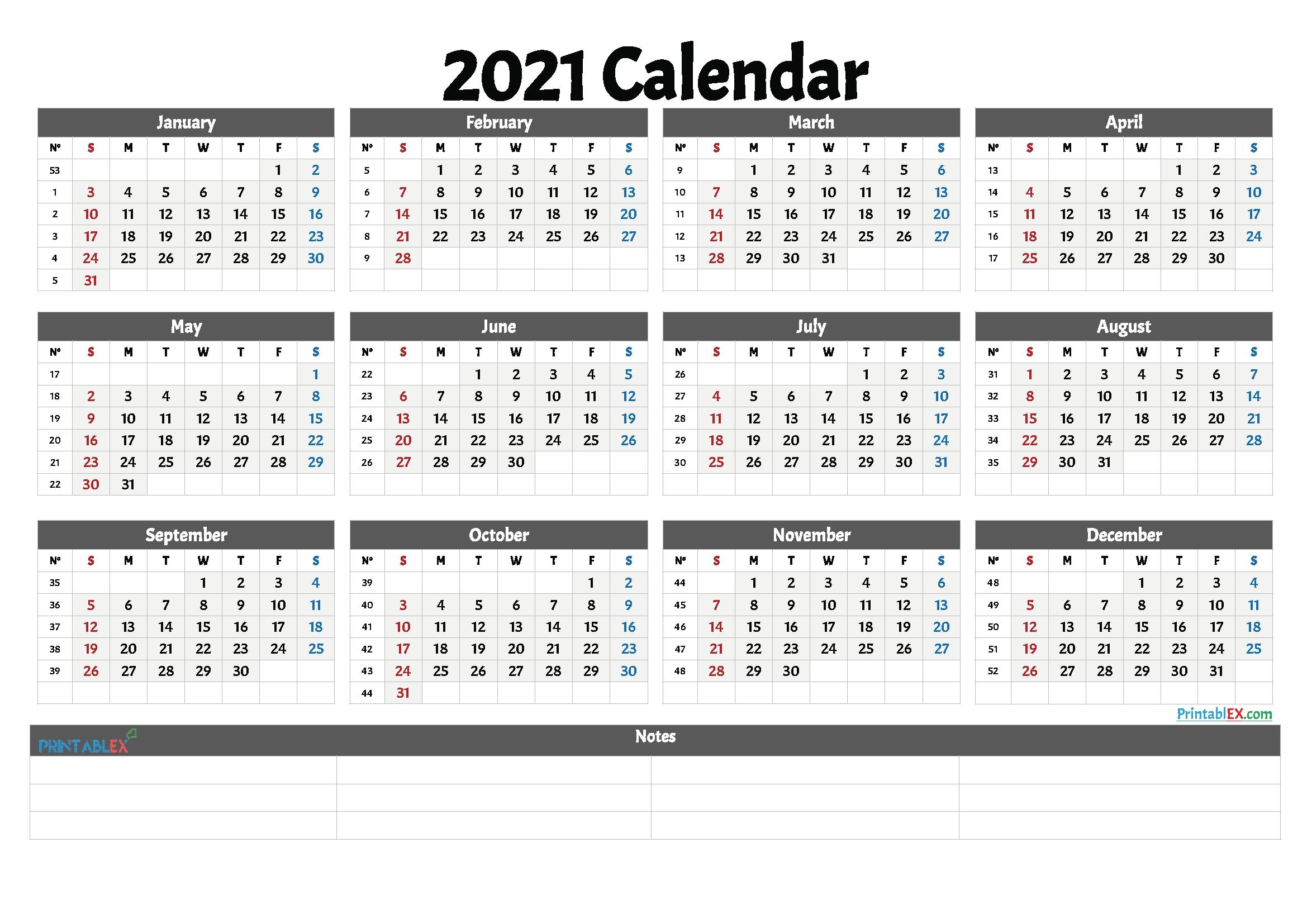 Take 2021 Annual Calendar