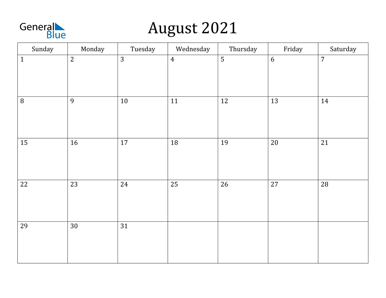 Take 2021 August Calendar
