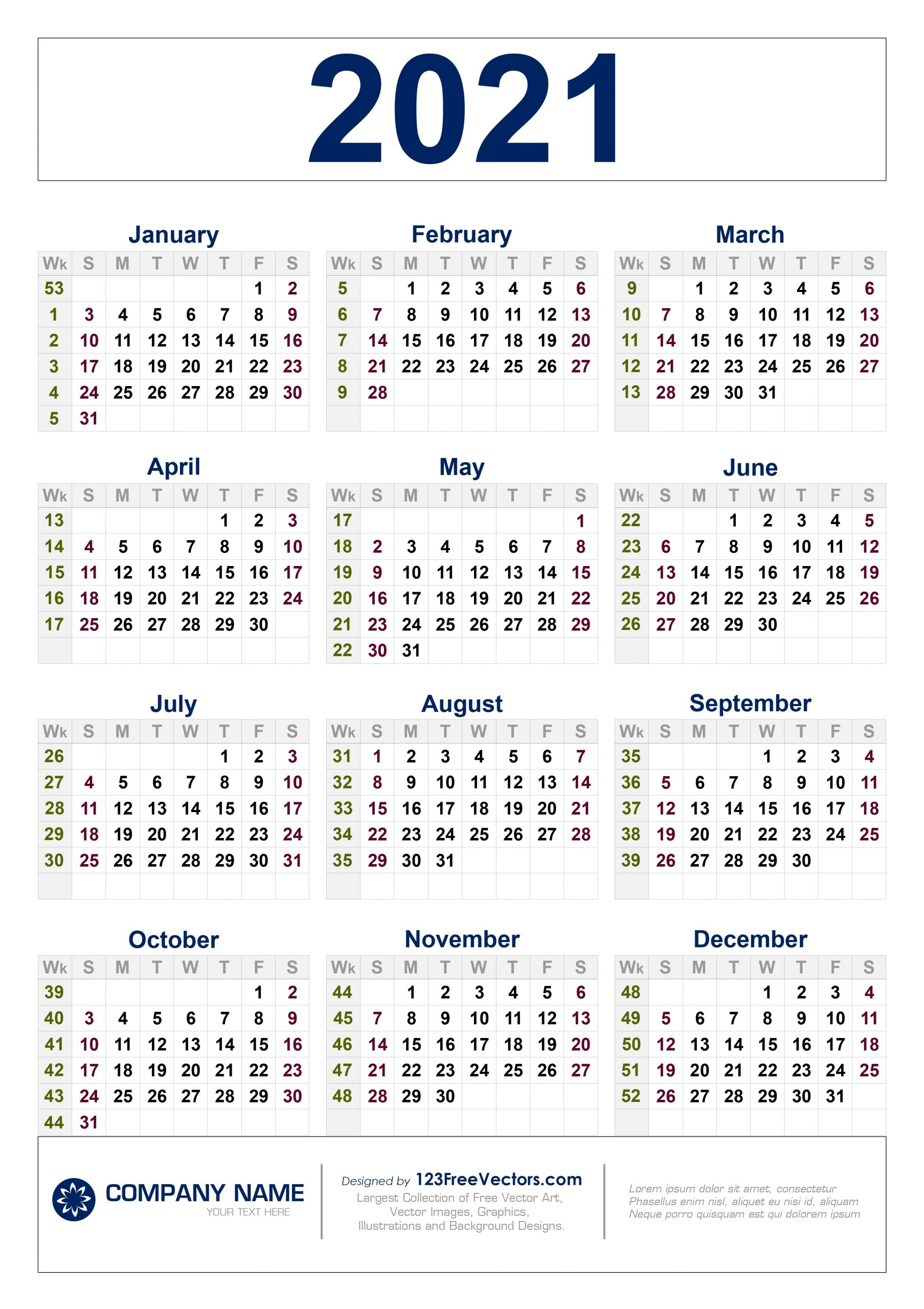 Take 2021 Calendar By Week