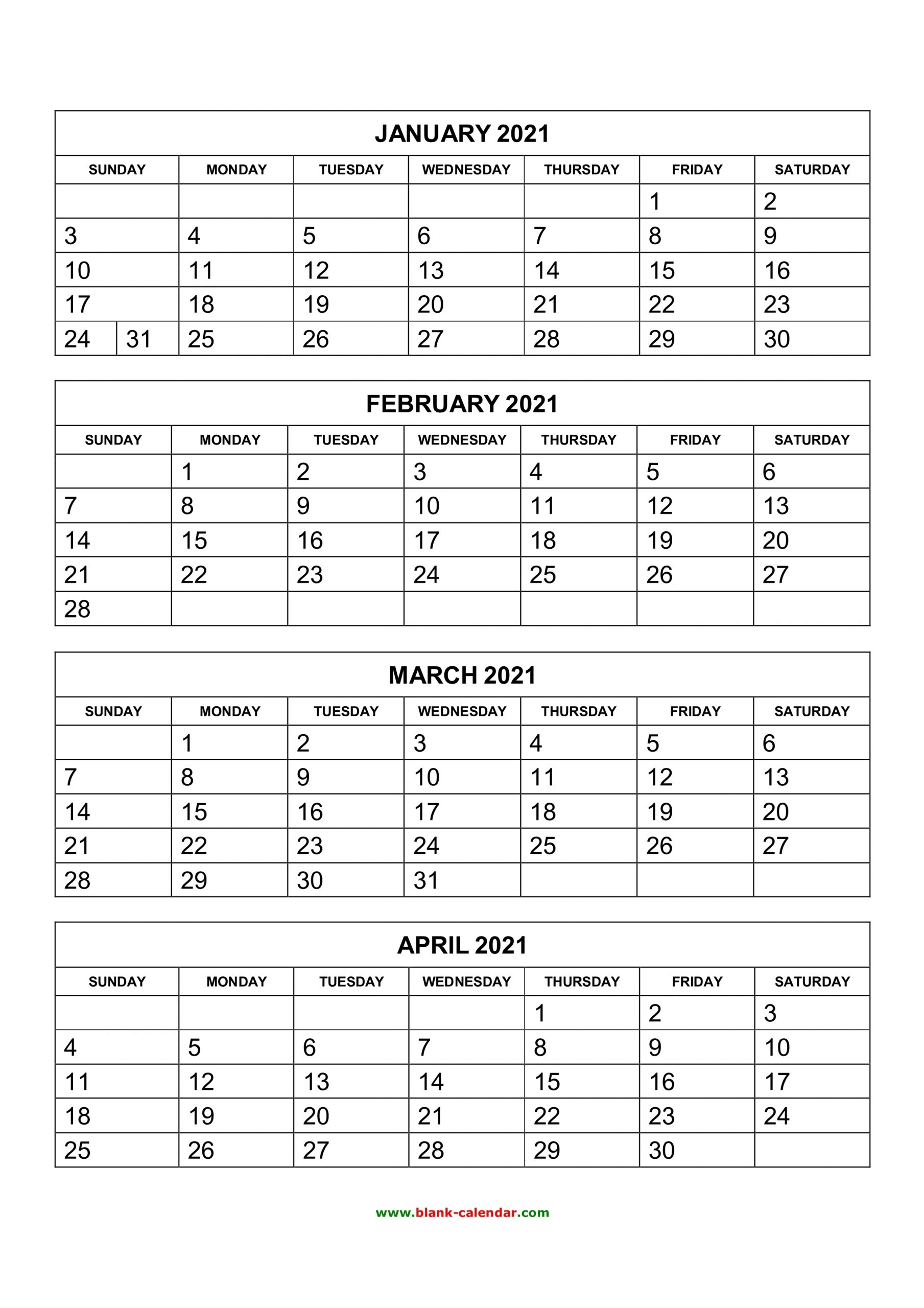 Take 2021 Calendar Free Printable 4 Month