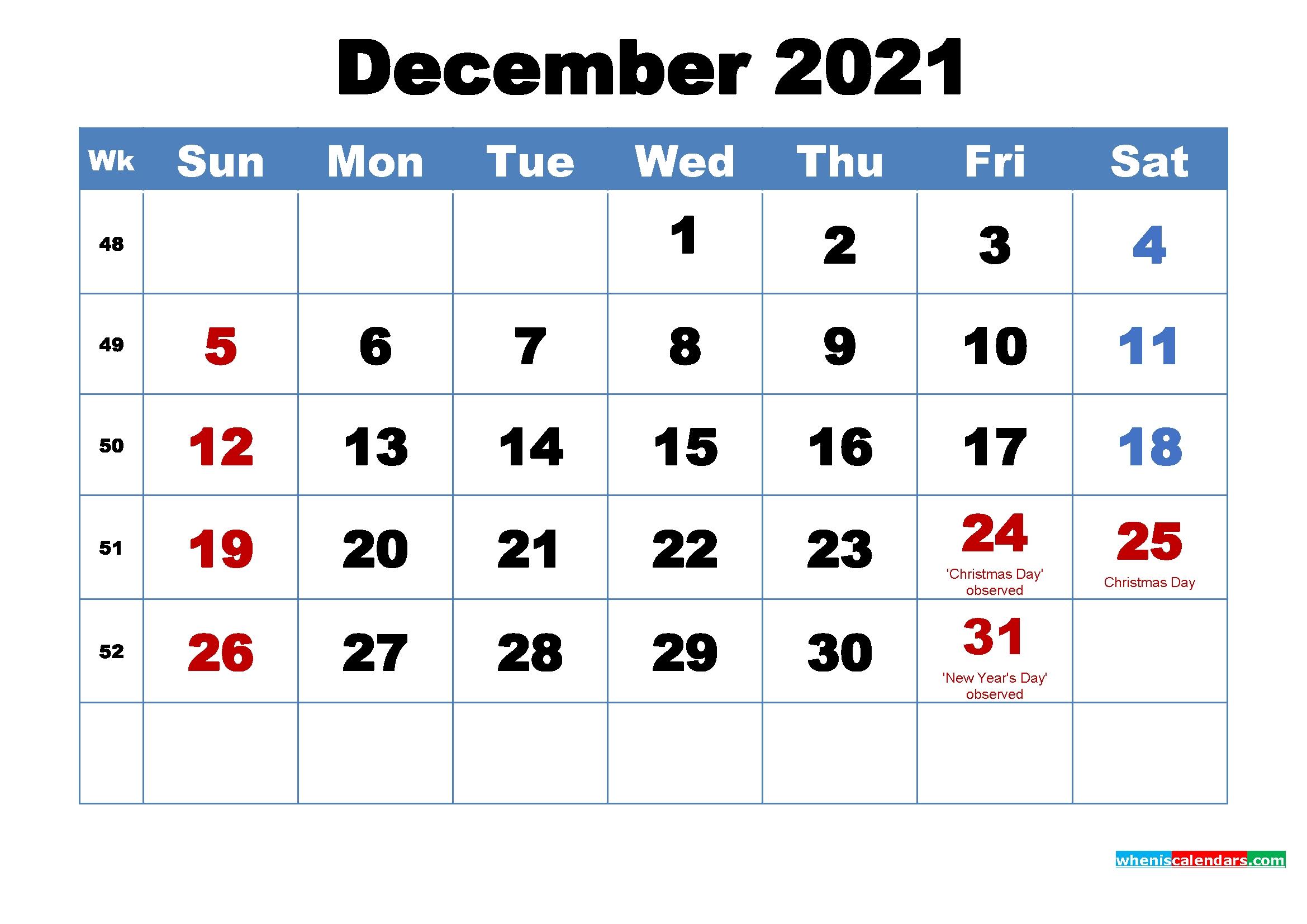 Take 2021 Calendar Printable December Christmas