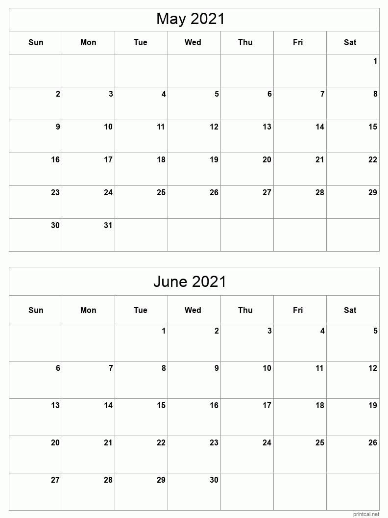 Take 2021 Calendar Two Months Per Page