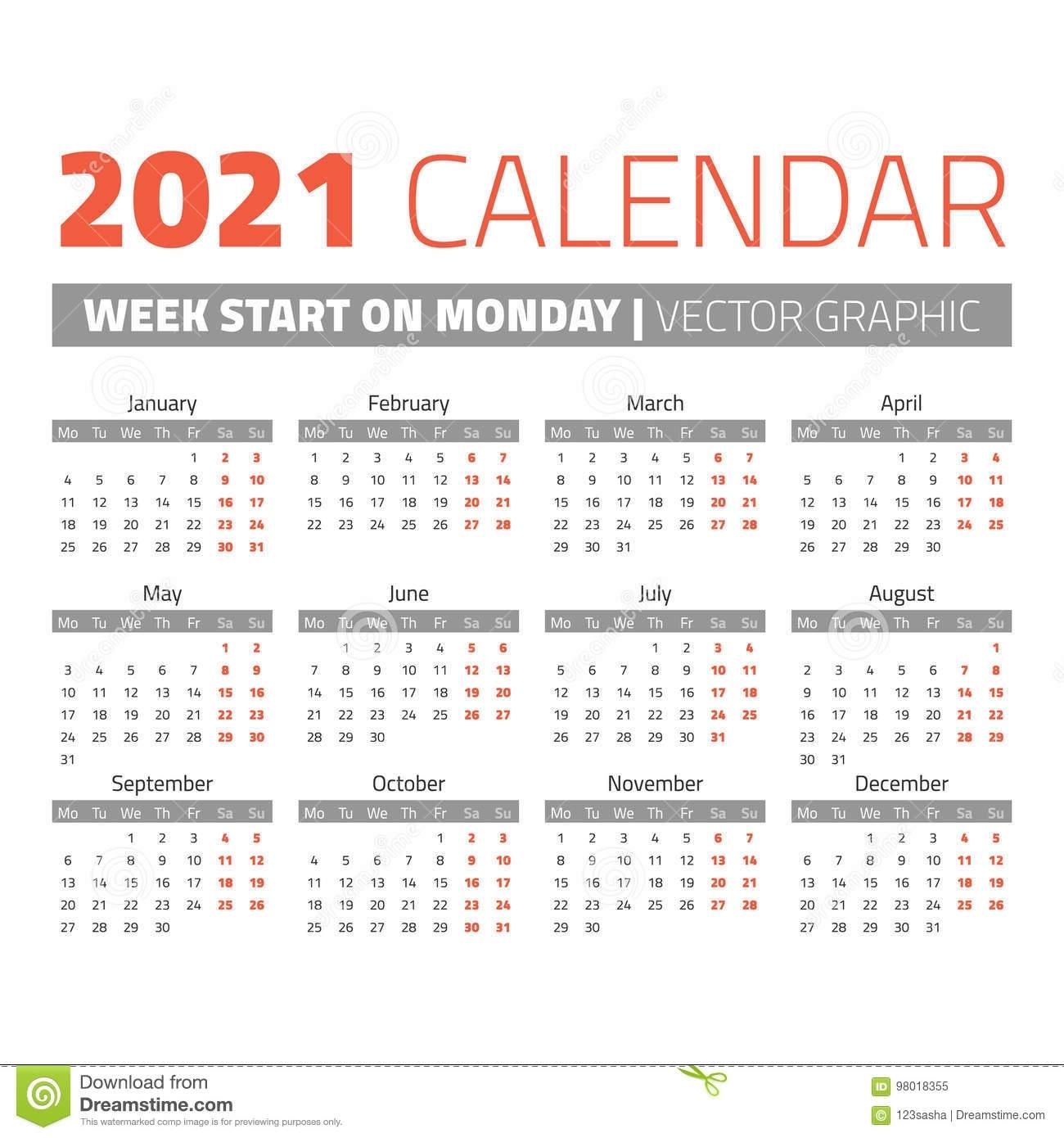 Take 2021 Calendar Weeks Start On Monday