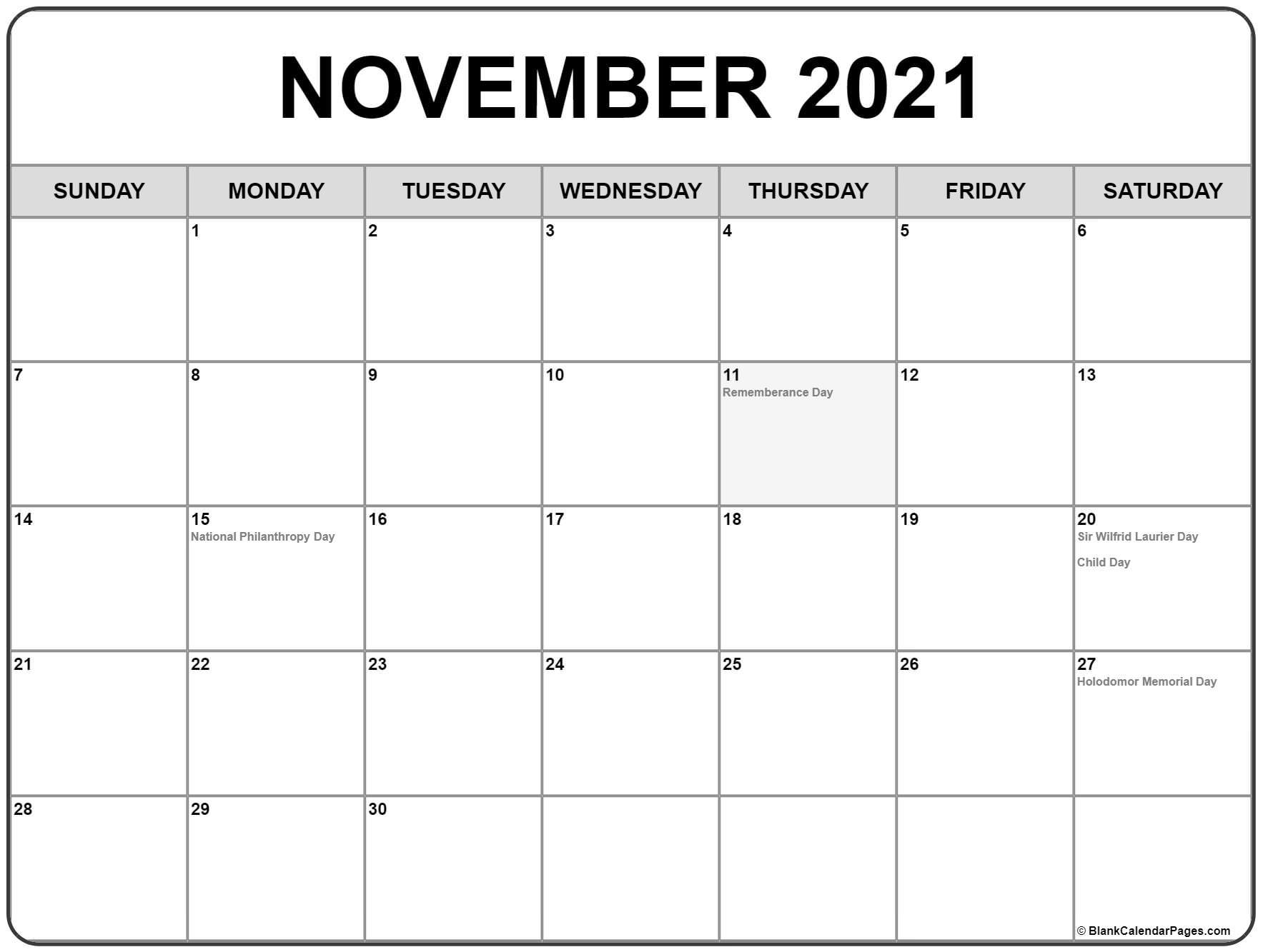 Take 2021 Calender November