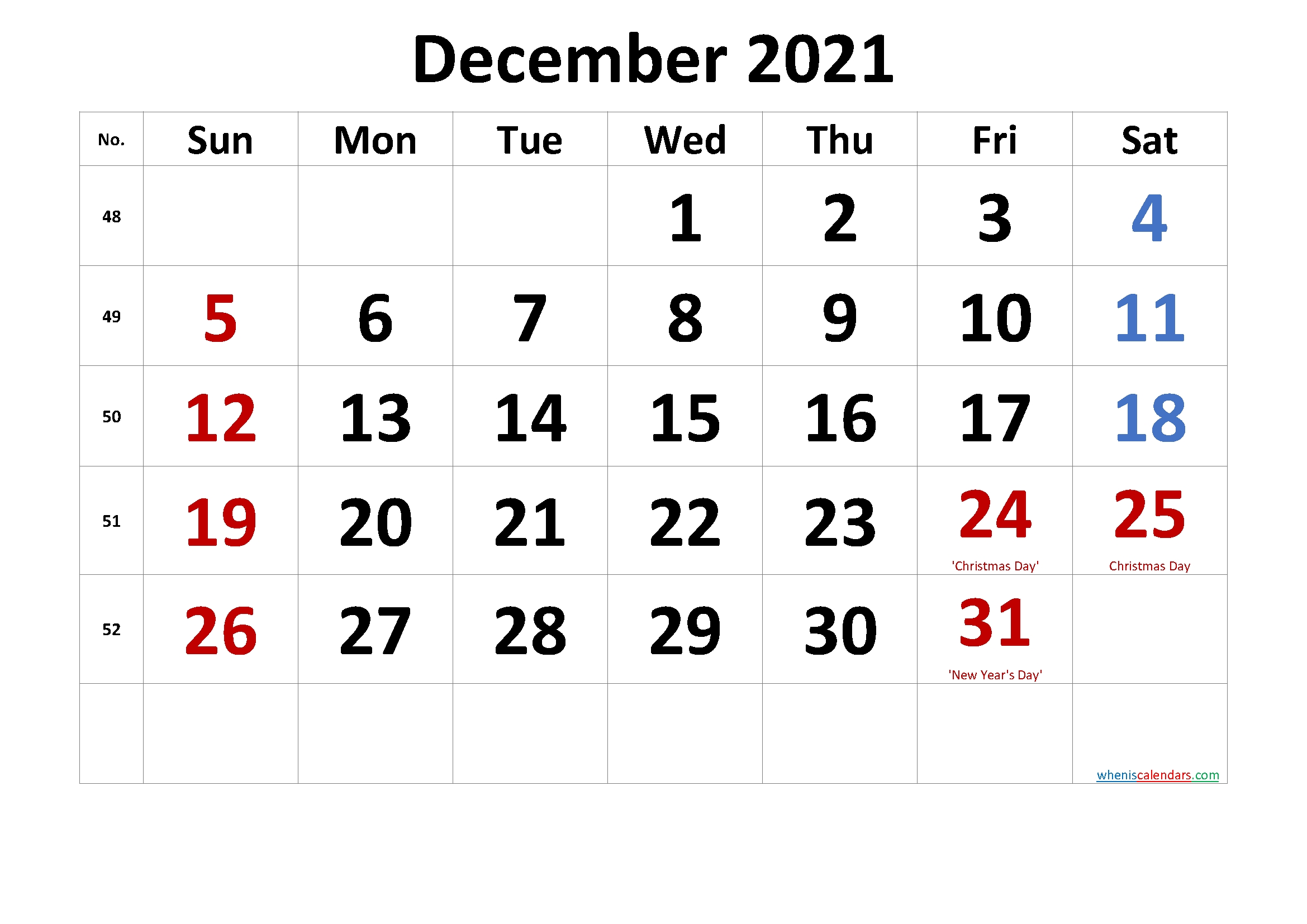 Take 2021 December Caemdar Tp Rint For No Download With Pictures