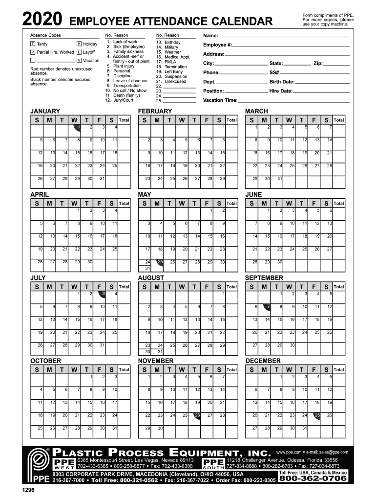 Take 2021 Employee Attendance Calendar