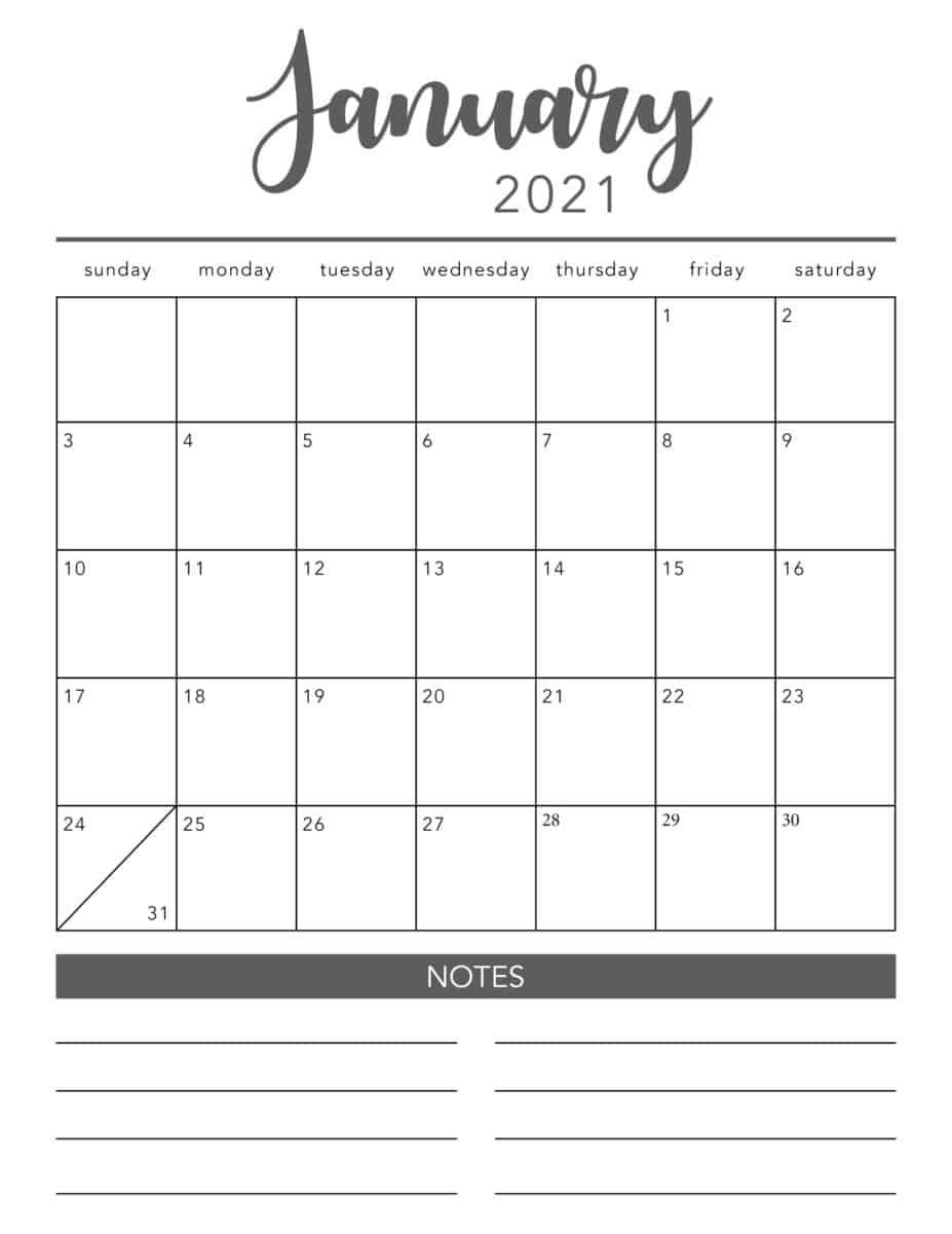 Take 2021 Monthly Calendar Printable