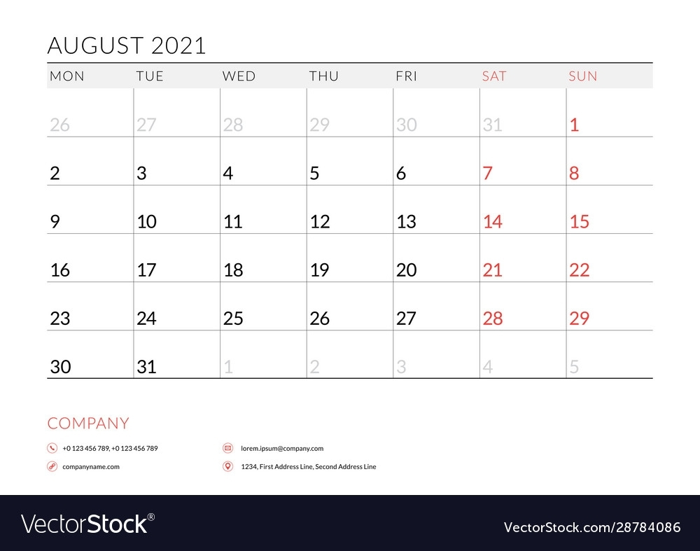 Take 2021 Monthly Calendar