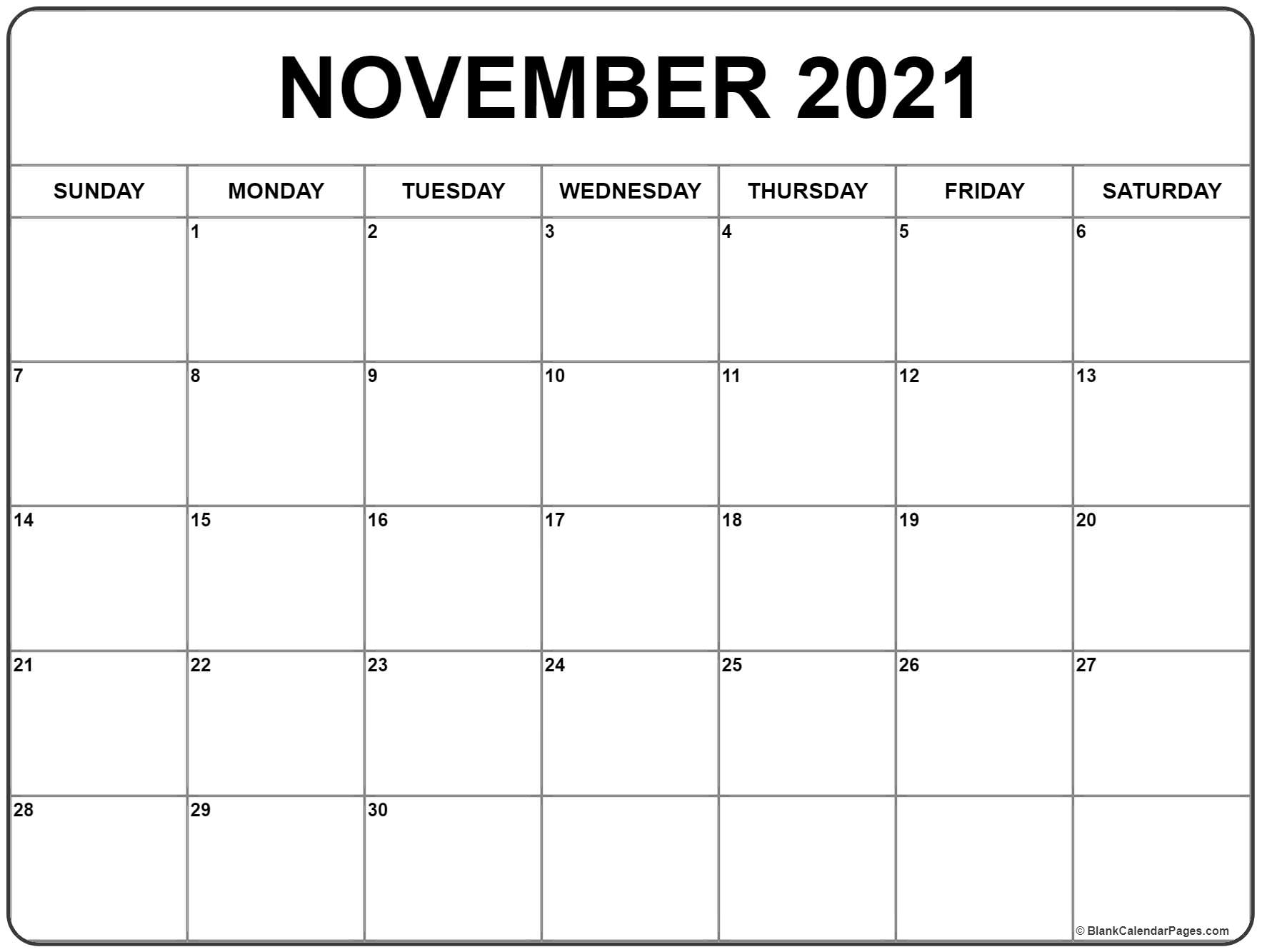 Take 2021 November Calendar Printable Free