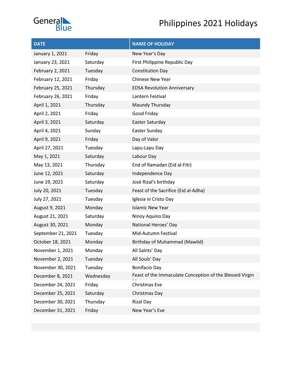 Take 2021 Philippine Calendar With Holidays